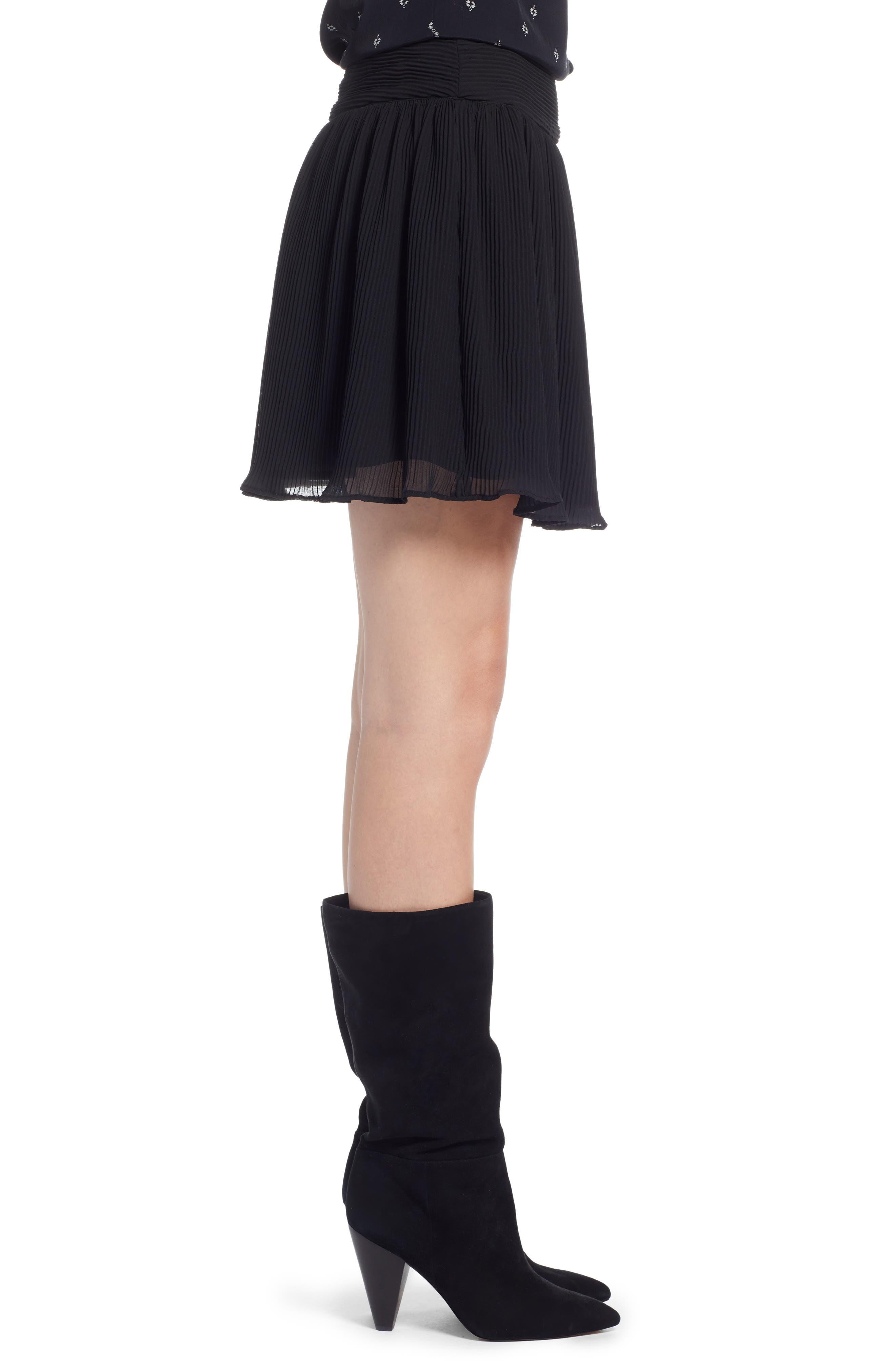 Pleated Flounce Miniskirt,                             Alternate thumbnail 4, color,                             001
