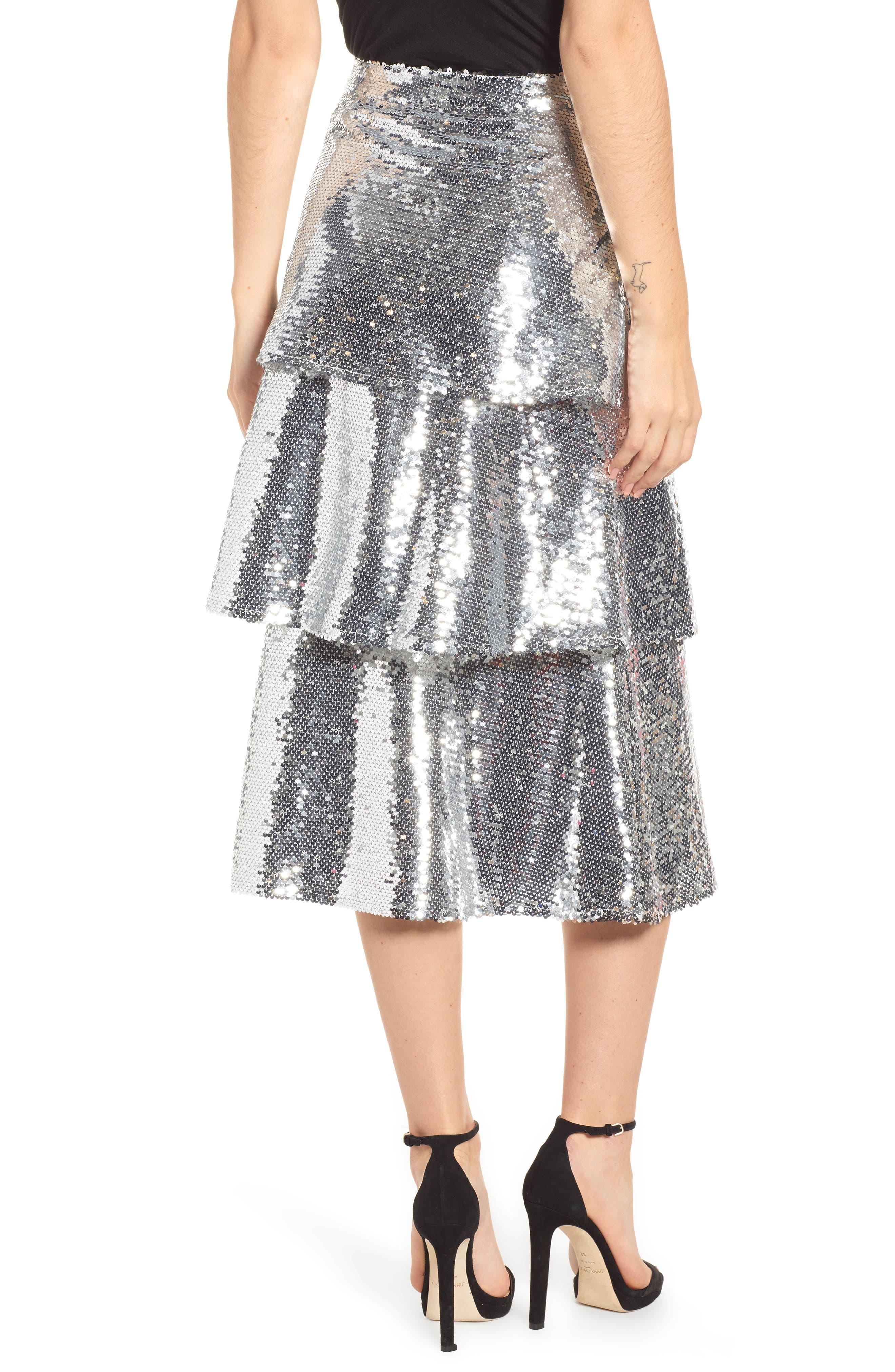 Tiered Sequin Midi Skirt,                             Alternate thumbnail 2, color,                             040