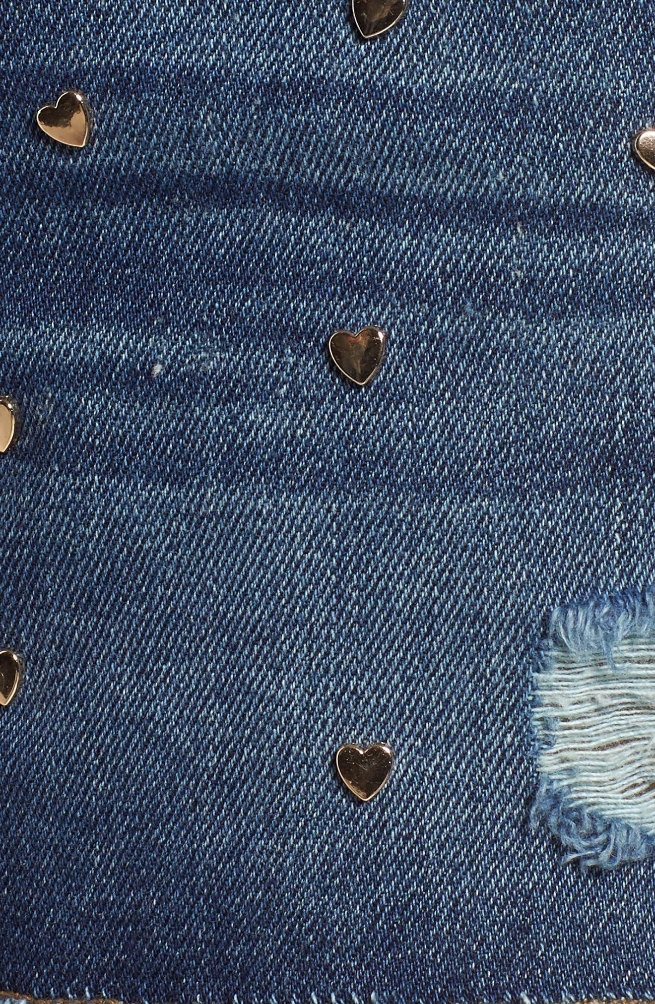 Heart Stud Step Hem Denim Shorts,                             Alternate thumbnail 6, color,                             400
