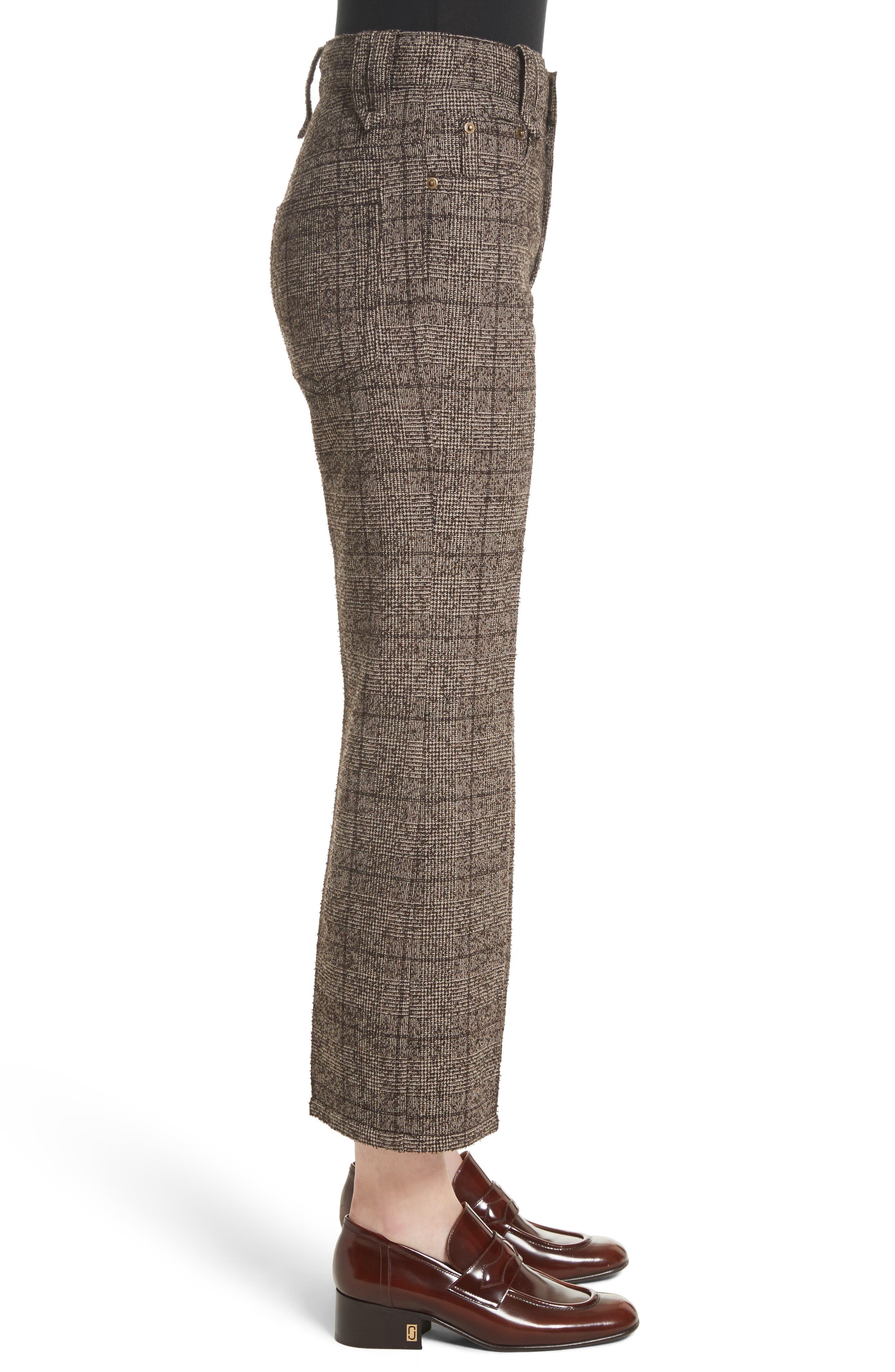 Plaid Tweed Crop Pants,                             Alternate thumbnail 3, color,                             201