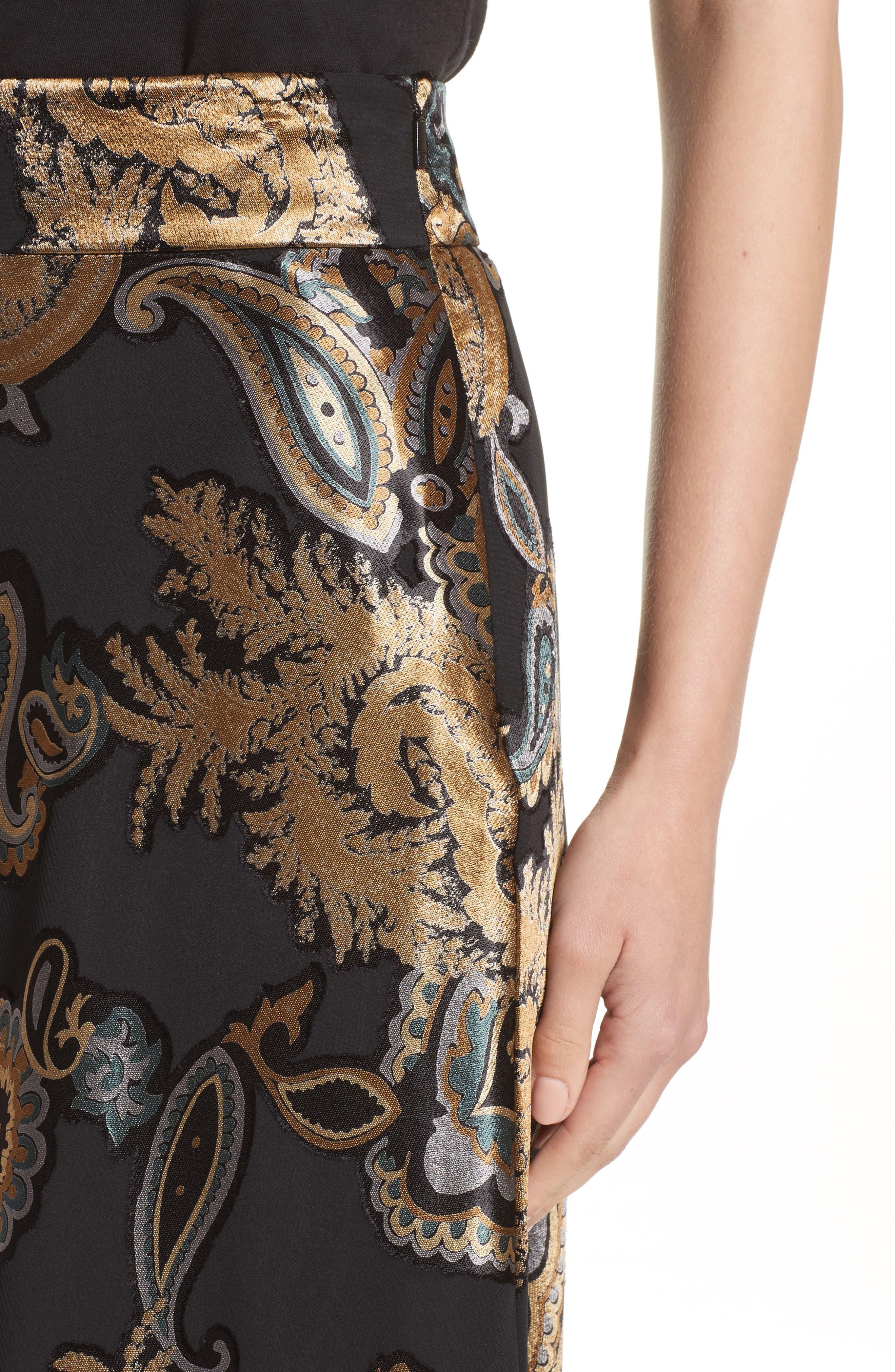 Kamara Renaissance Paisley Devoré Skirt,                             Alternate thumbnail 4, color,                             001