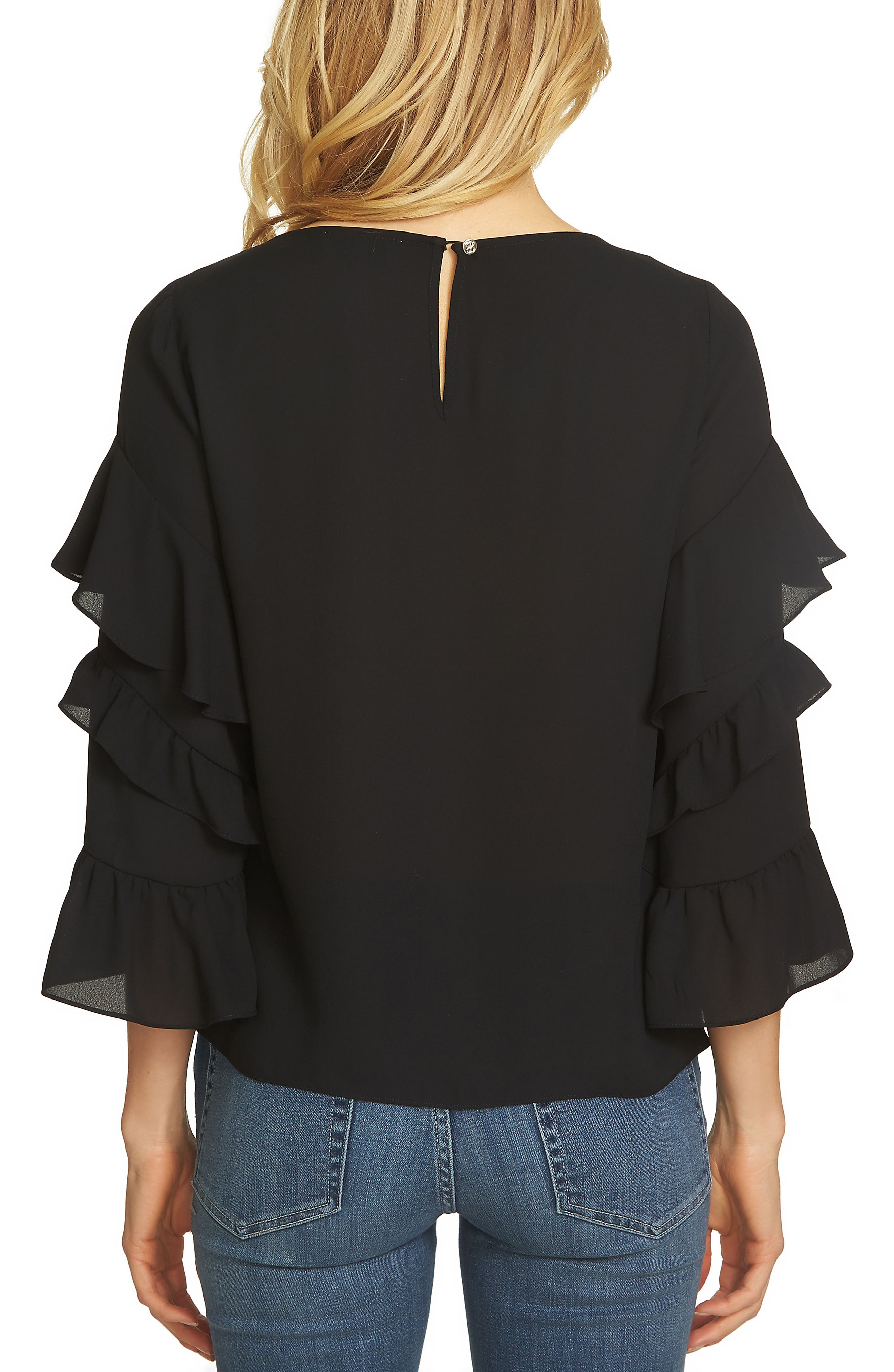 Tiered Ruffle Sleeve Blouse,                             Alternate thumbnail 2, color,                             010