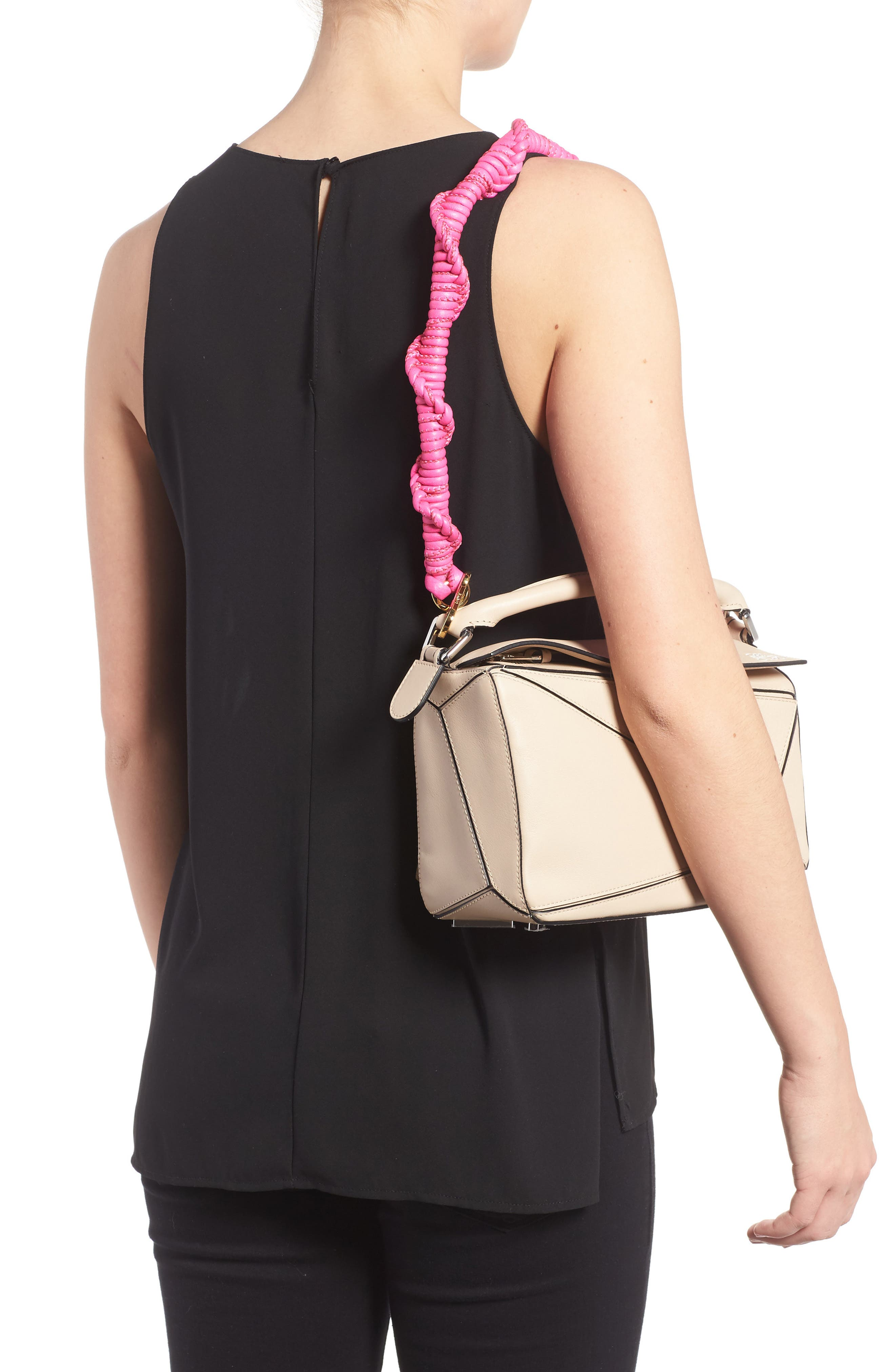 Braided Leather Bag Strap,                             Alternate thumbnail 2, color,                             SHOCKING PINK