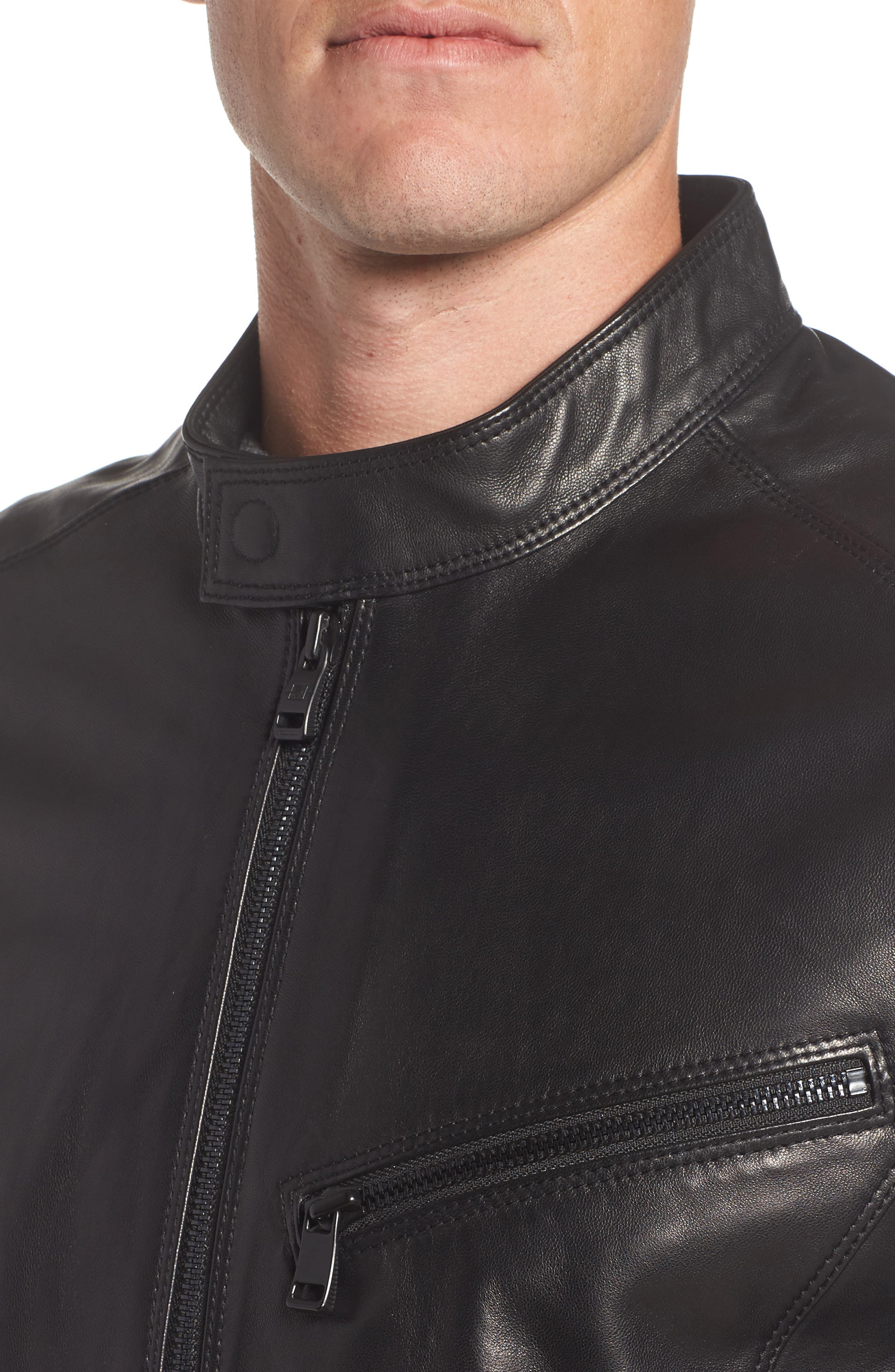 Gibson Slim Leather Moto Jacket,                             Alternate thumbnail 4, color,                             001