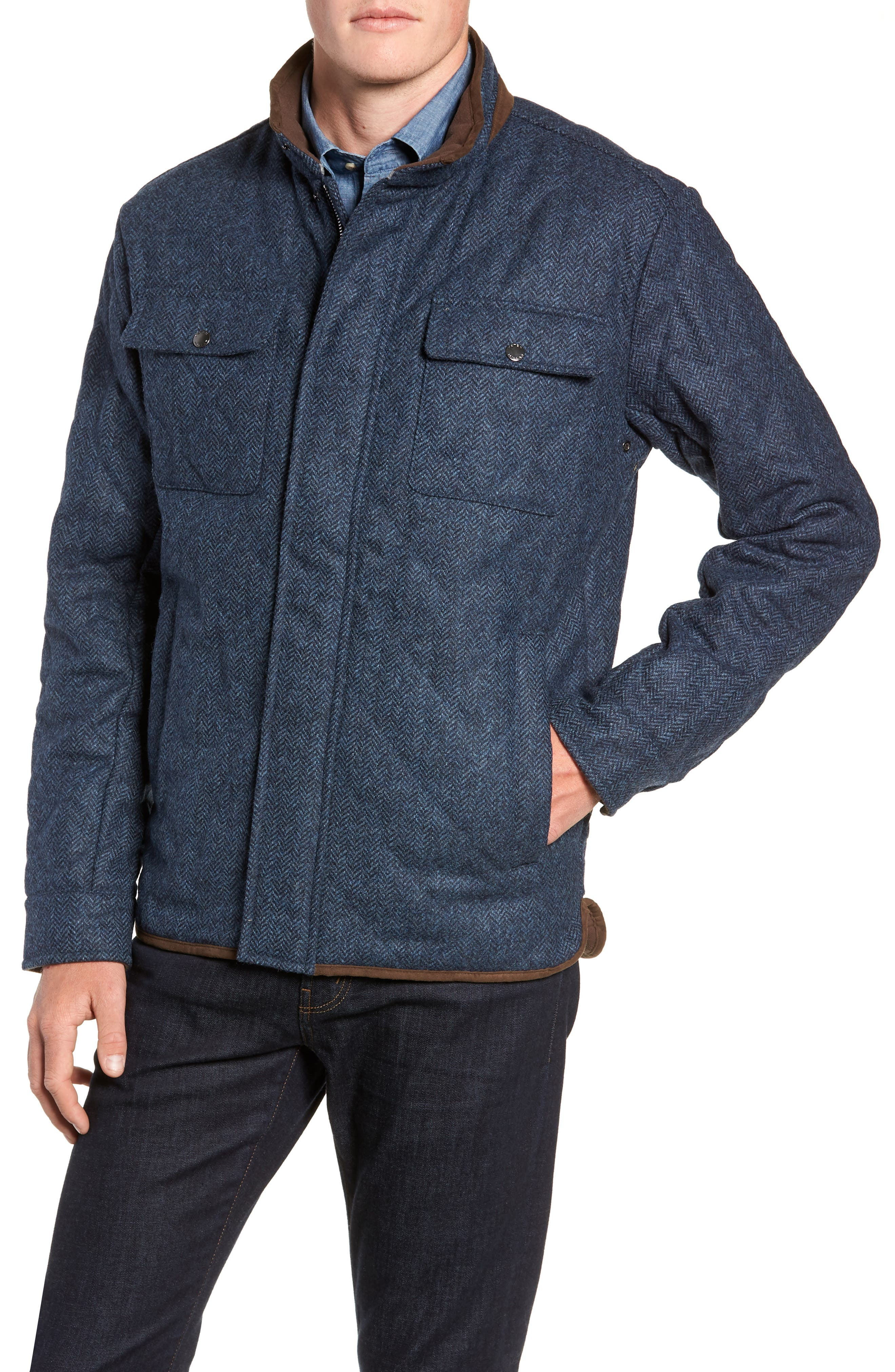 Mountain Quilted Shirt Jacket,                             Alternate thumbnail 4, color,                             ATLANTIC BLUE