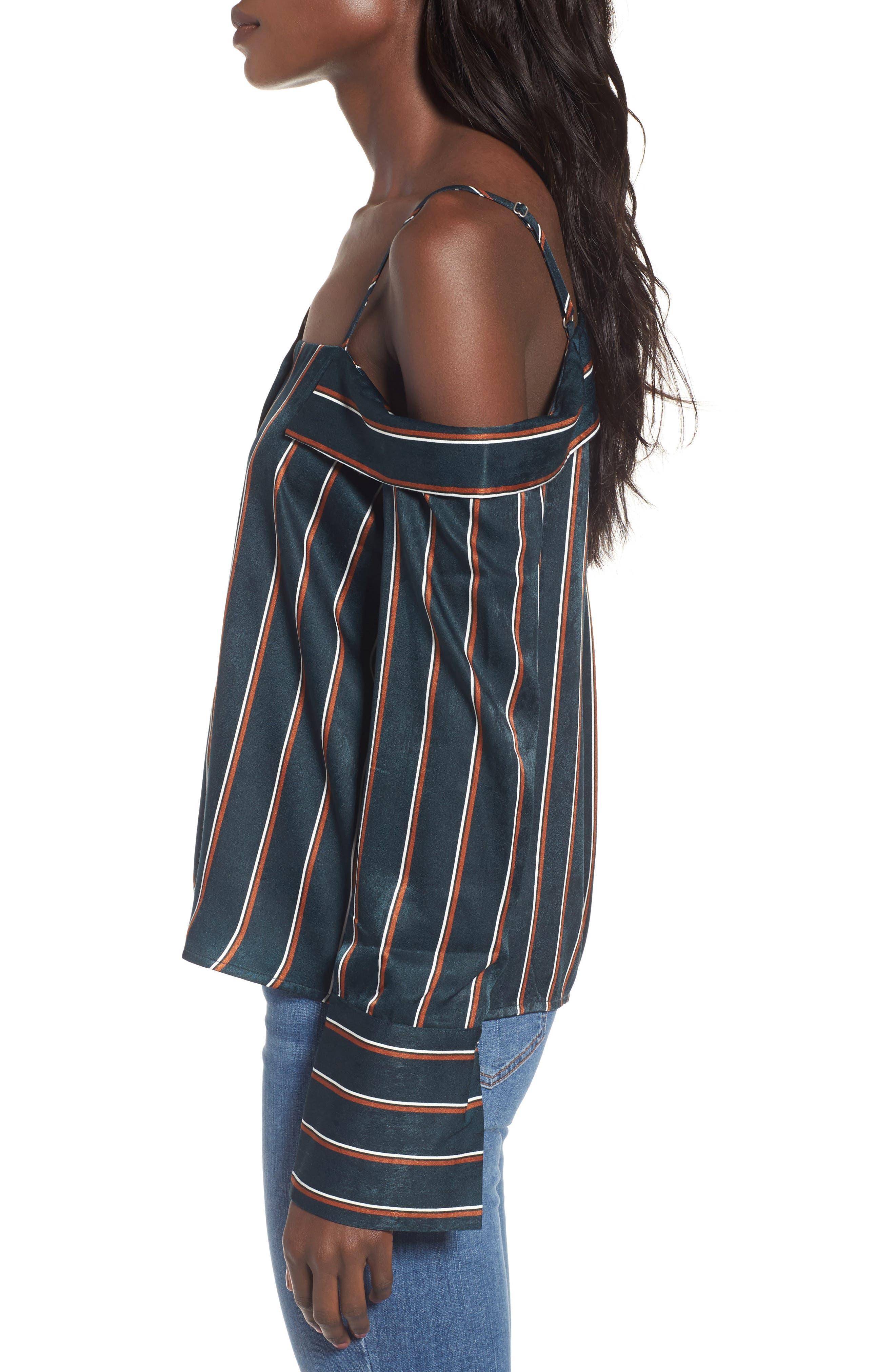One-Shoulder Stripe Shirt,                             Alternate thumbnail 3, color,                             360