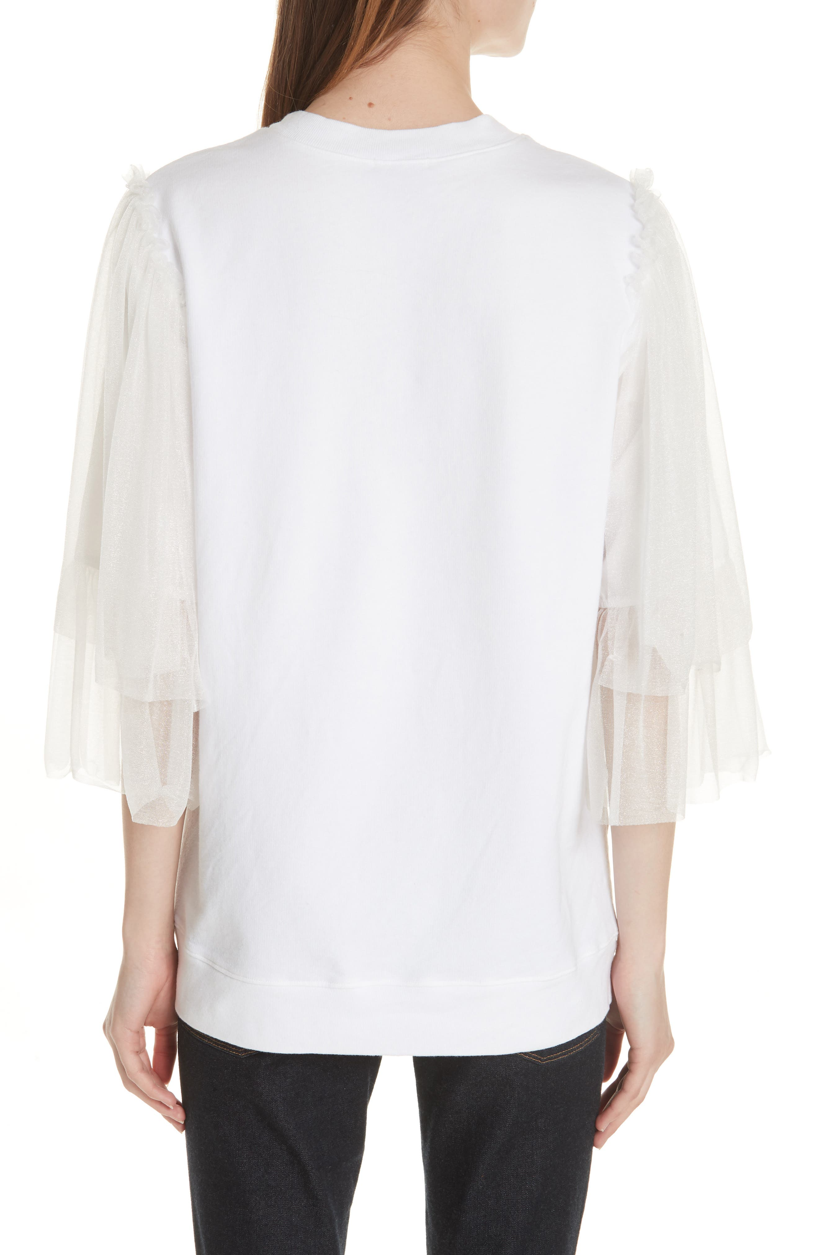 Tulle Sleeve Sweatshirt,                             Alternate thumbnail 2, color,                             WHITE