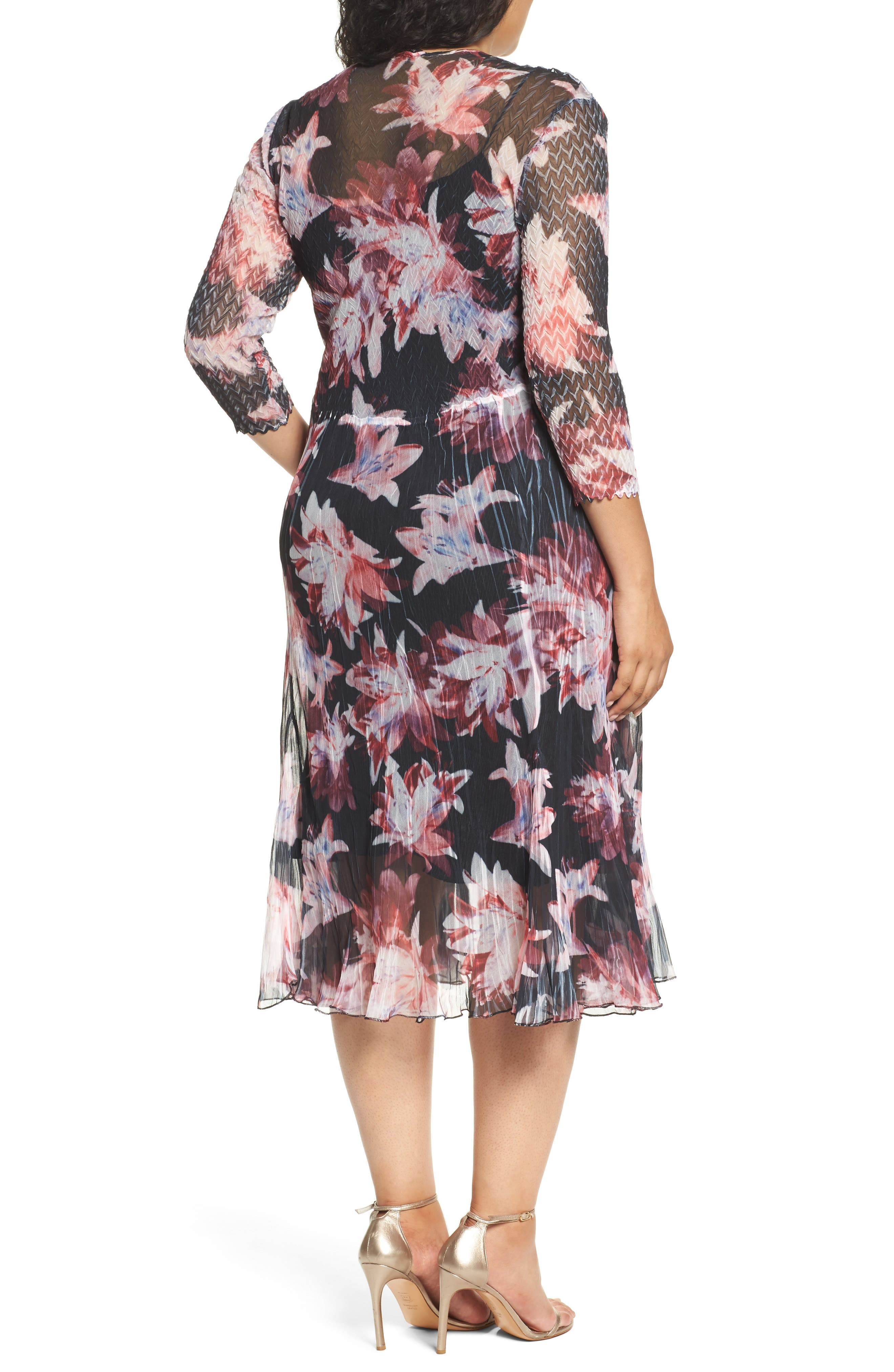 Chiffon & Charmeuse A-Line Dress,                             Alternate thumbnail 2, color,                             014