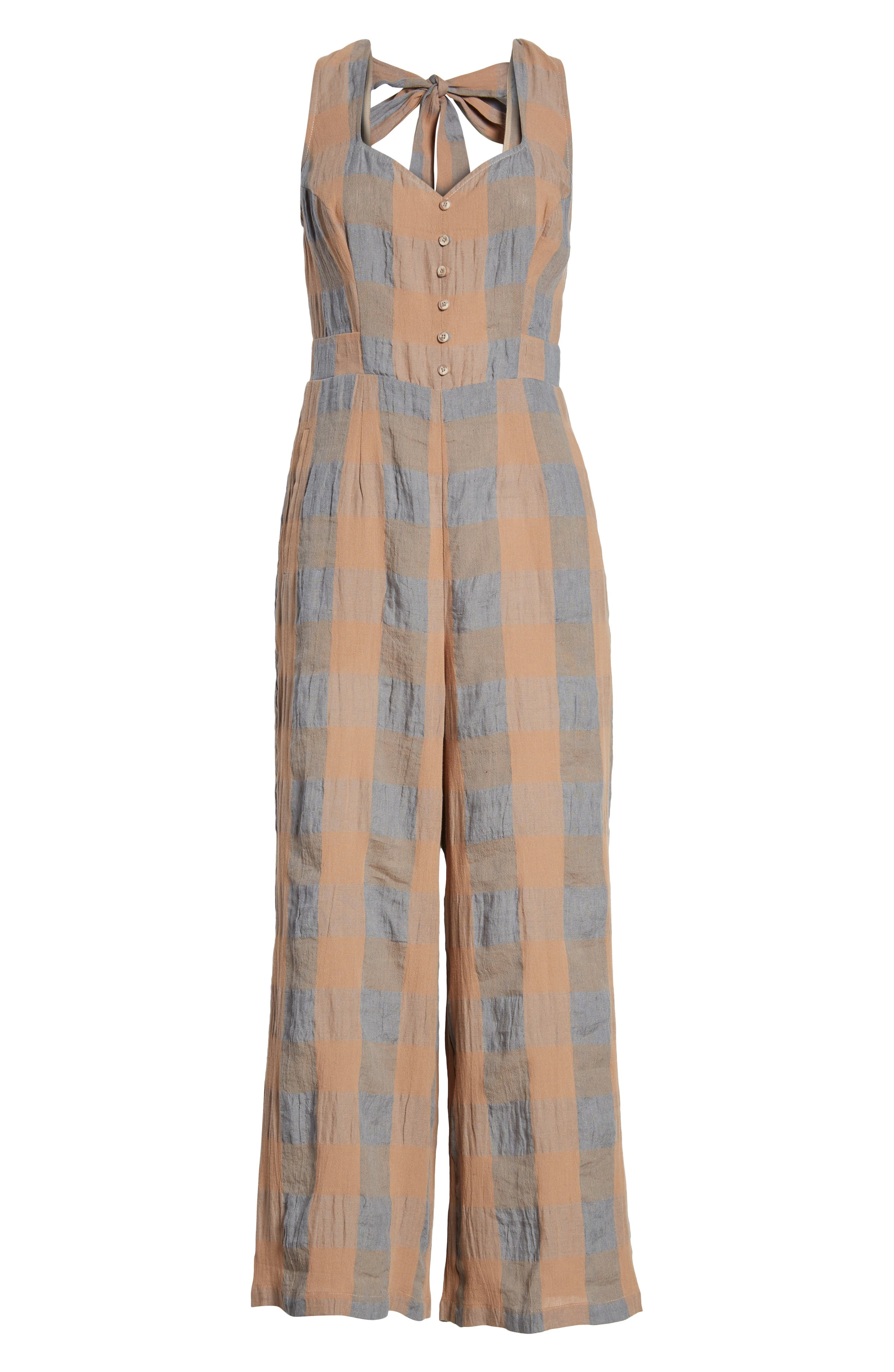 Frankie Check Linen Blend Jumpsuit,                             Alternate thumbnail 7, color,                             SMOKE AND BISCUIT