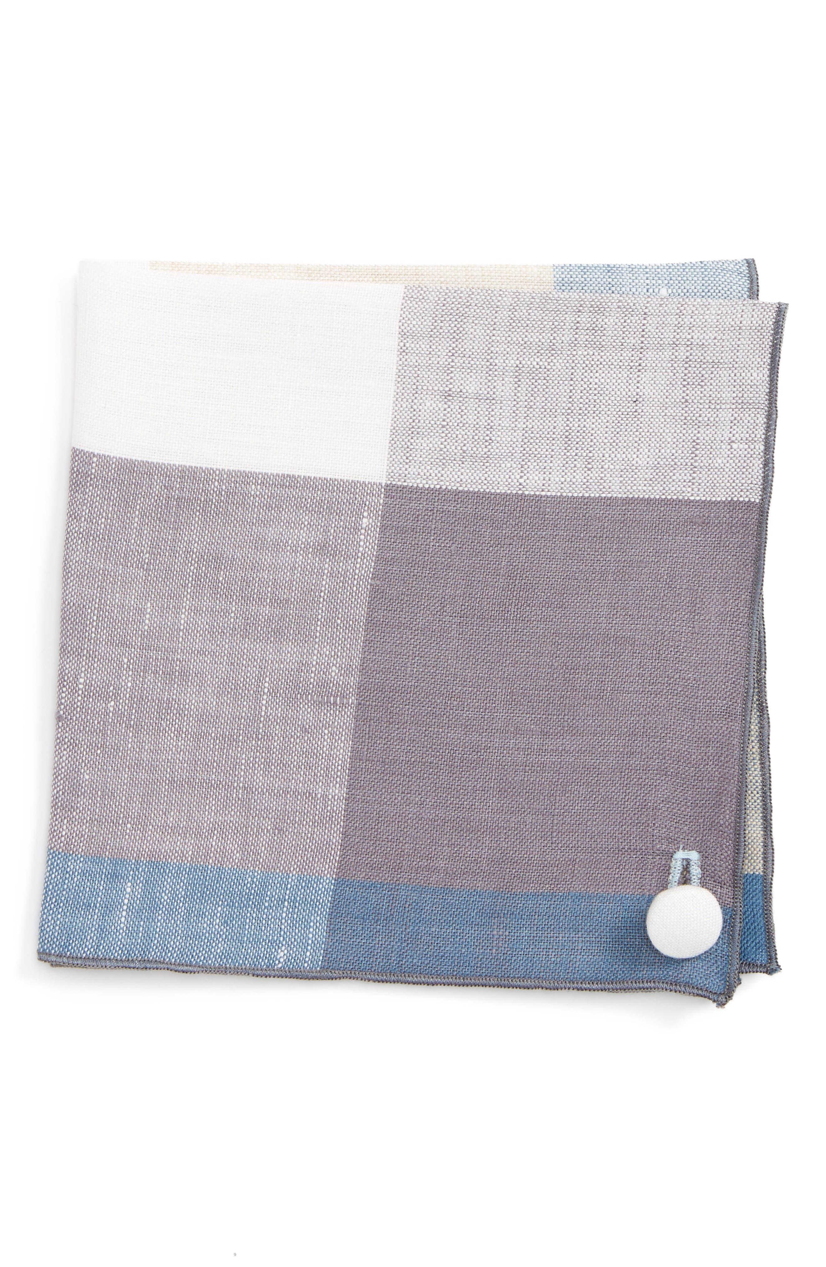 Check Linen Pocket Square,                         Main,                         color, 020