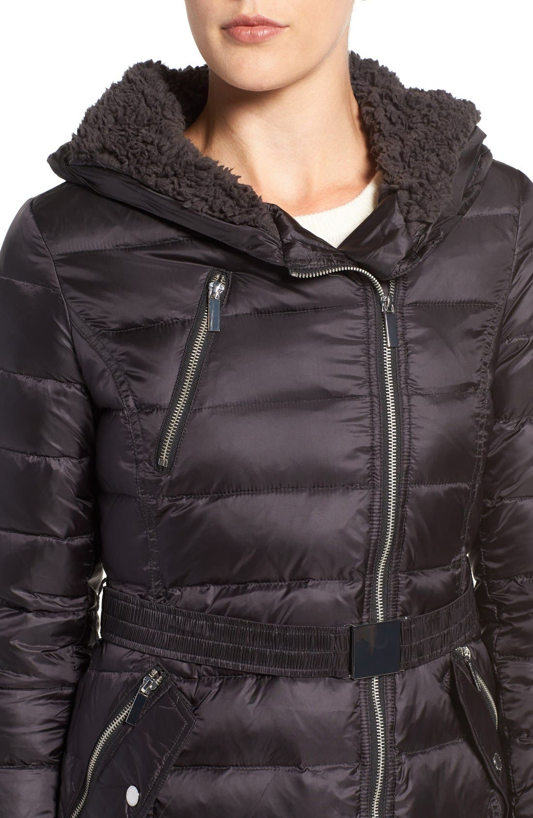Quilted Coat with Faux Fur Trim Hood,                             Alternate thumbnail 4, color,                             001
