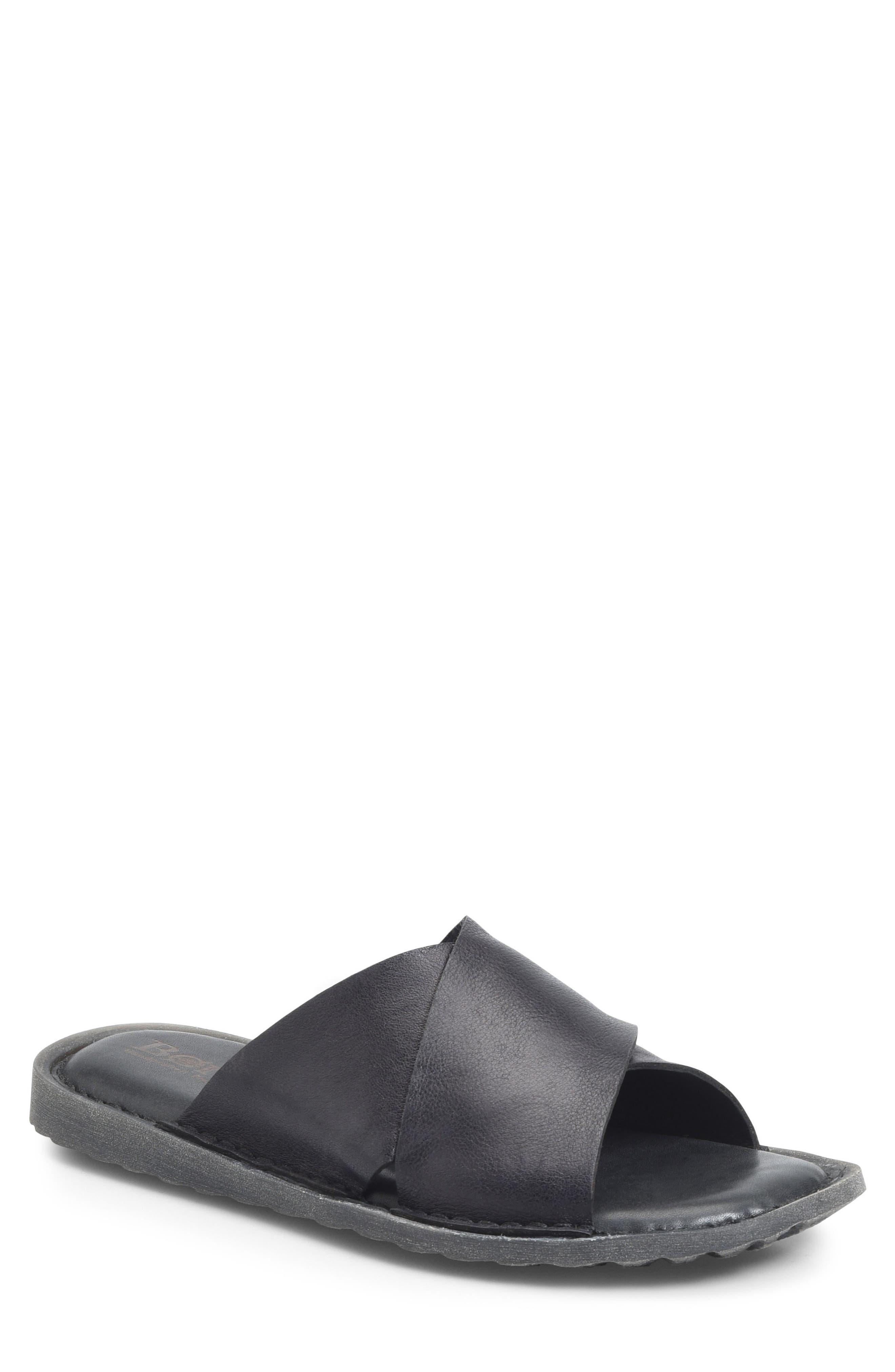 Getaway Slide Sandal,                         Main,                         color, BLACK LEATHER