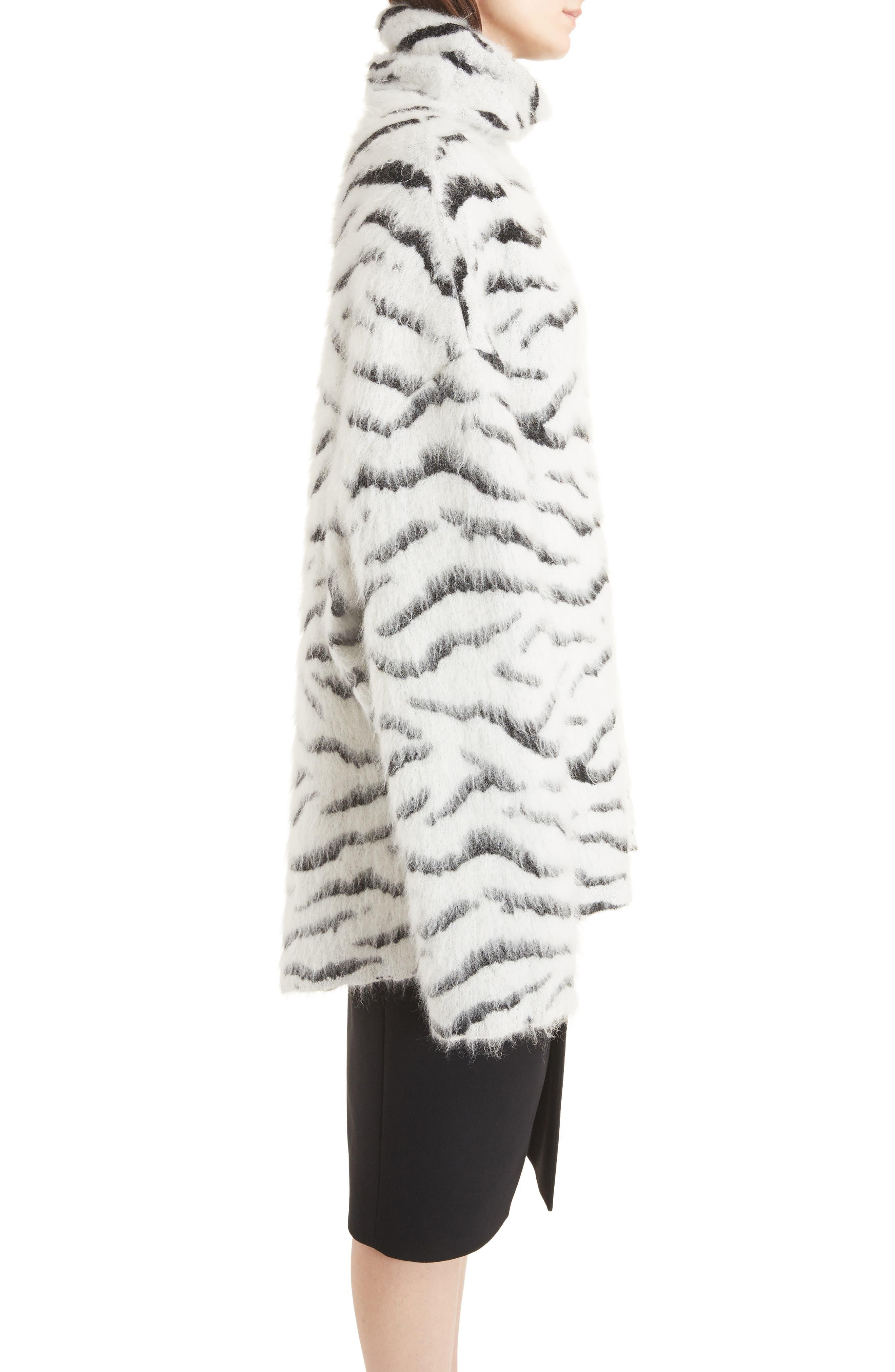 Zebra Stripe Mohair Blend Turtleneck Sweater,                             Alternate thumbnail 3, color,                             116