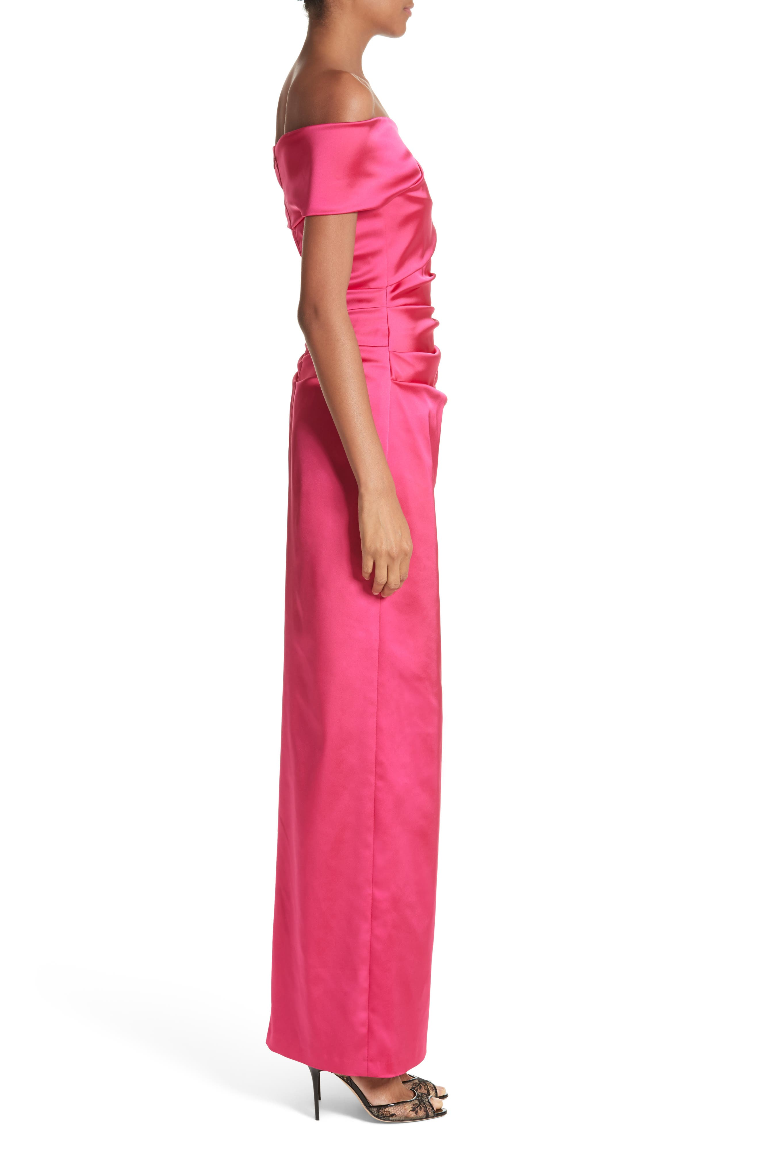 Stretch Satin Off the Shoulder Column Gown,                             Alternate thumbnail 3, color,                             BEGONIA
