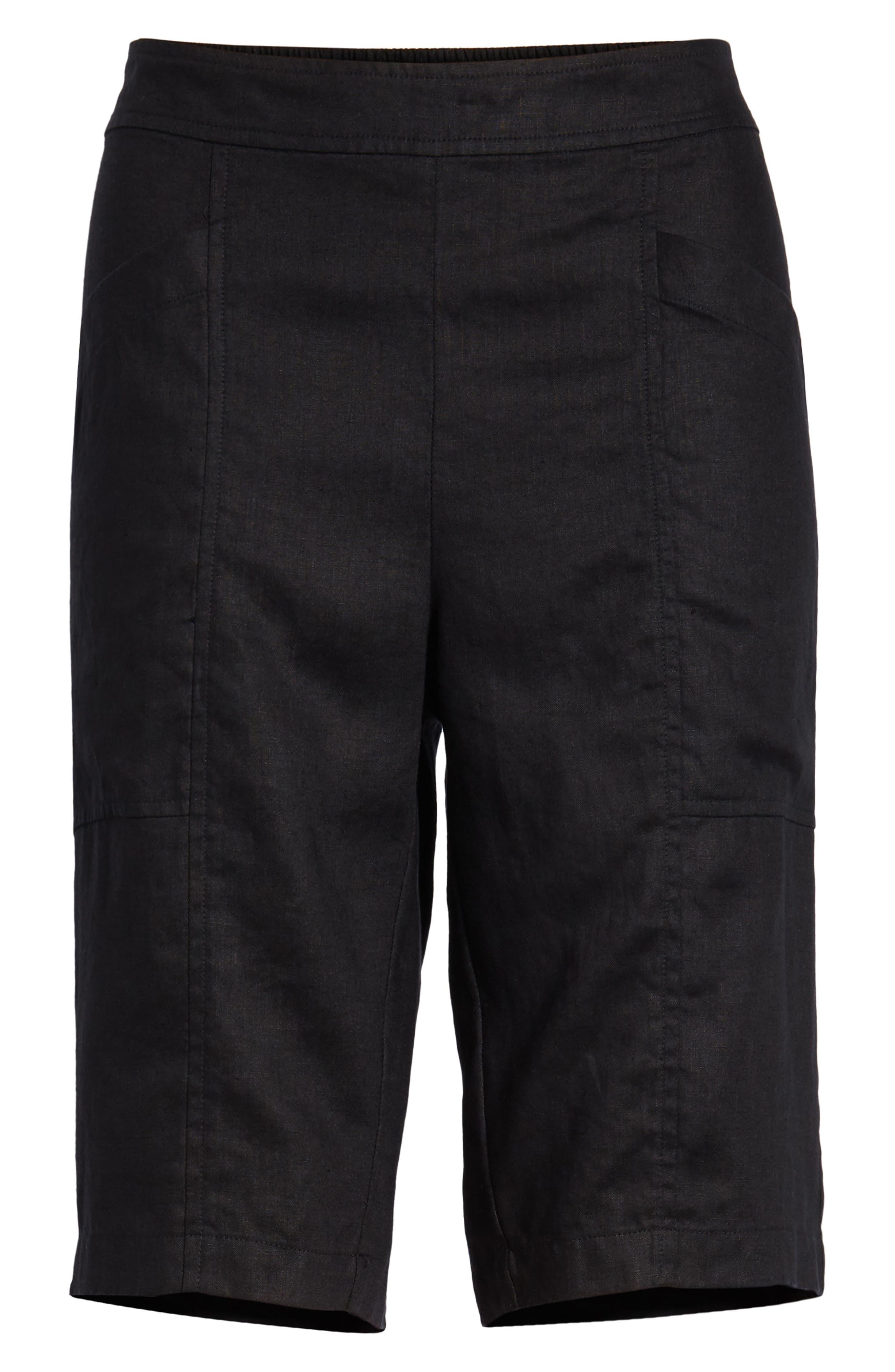EILEEN FISHER,                             Organic Linen City Shorts,                             Alternate thumbnail 6, color,                             001