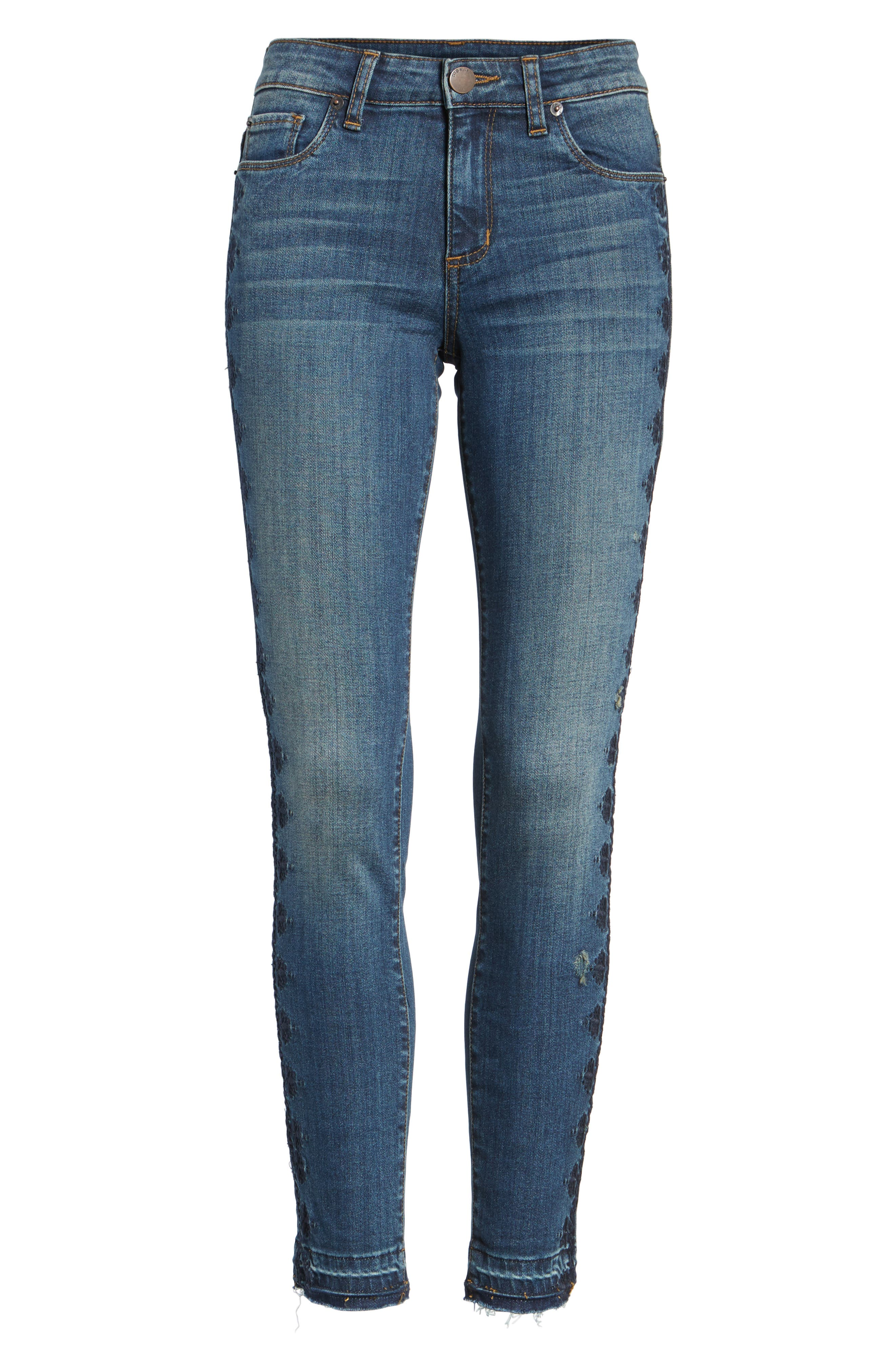 Emma Embroidered Skinny Ankle Jeans,                             Alternate thumbnail 6, color,