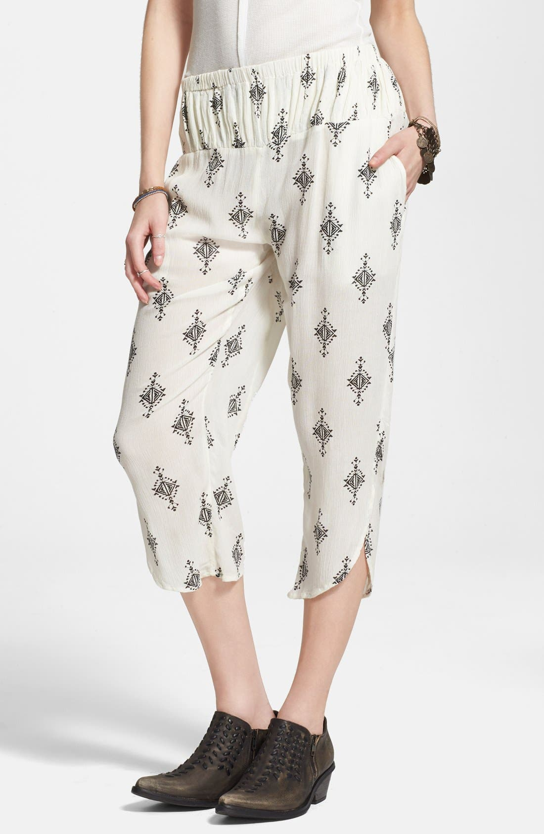 FREE PEOPLE Gauzy Print Pants, Main, color, 250