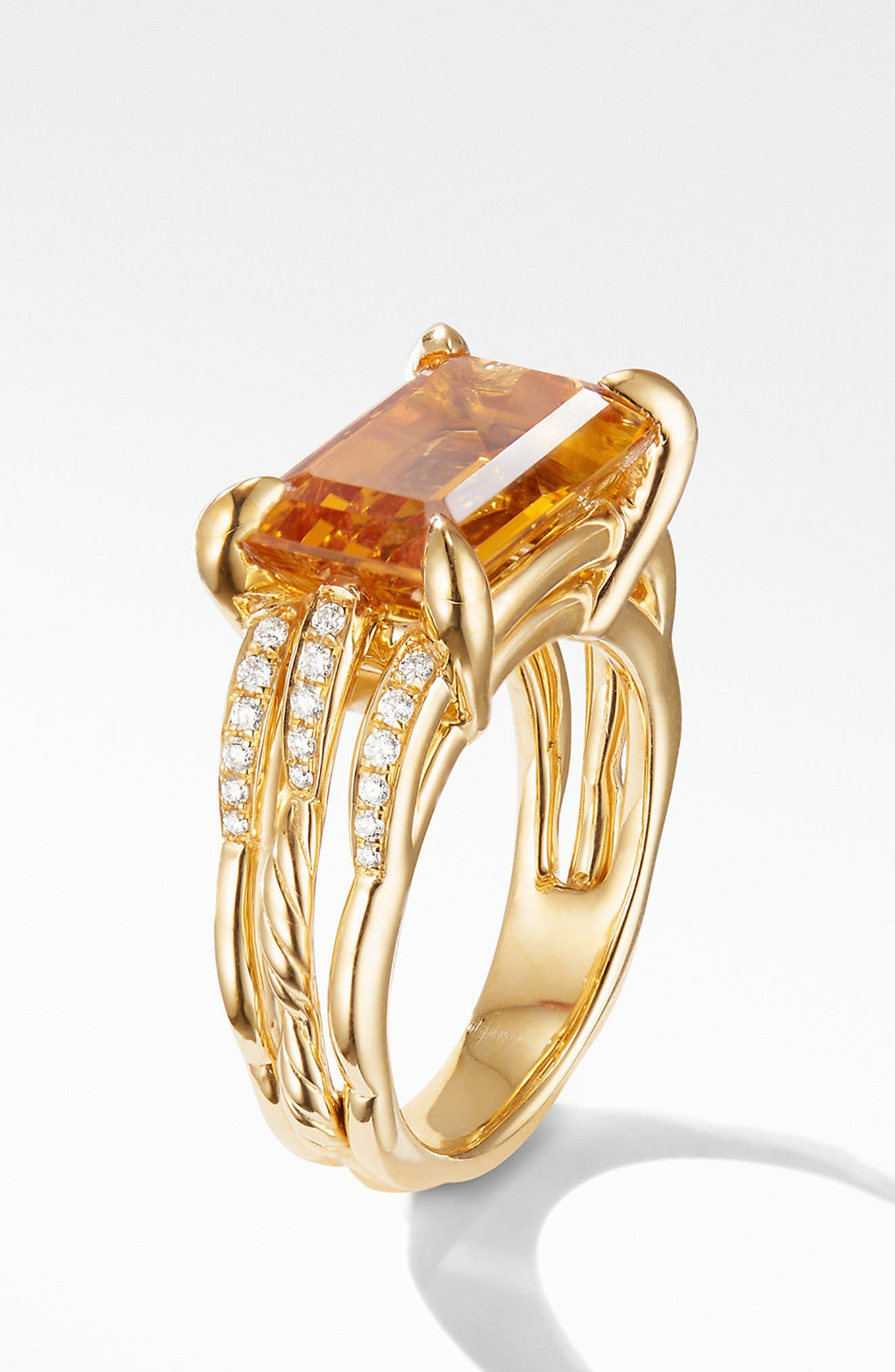 Tides Ring in 18k Gold with Diamonds,                             Alternate thumbnail 2, color,                             GOLD/ CITRINE