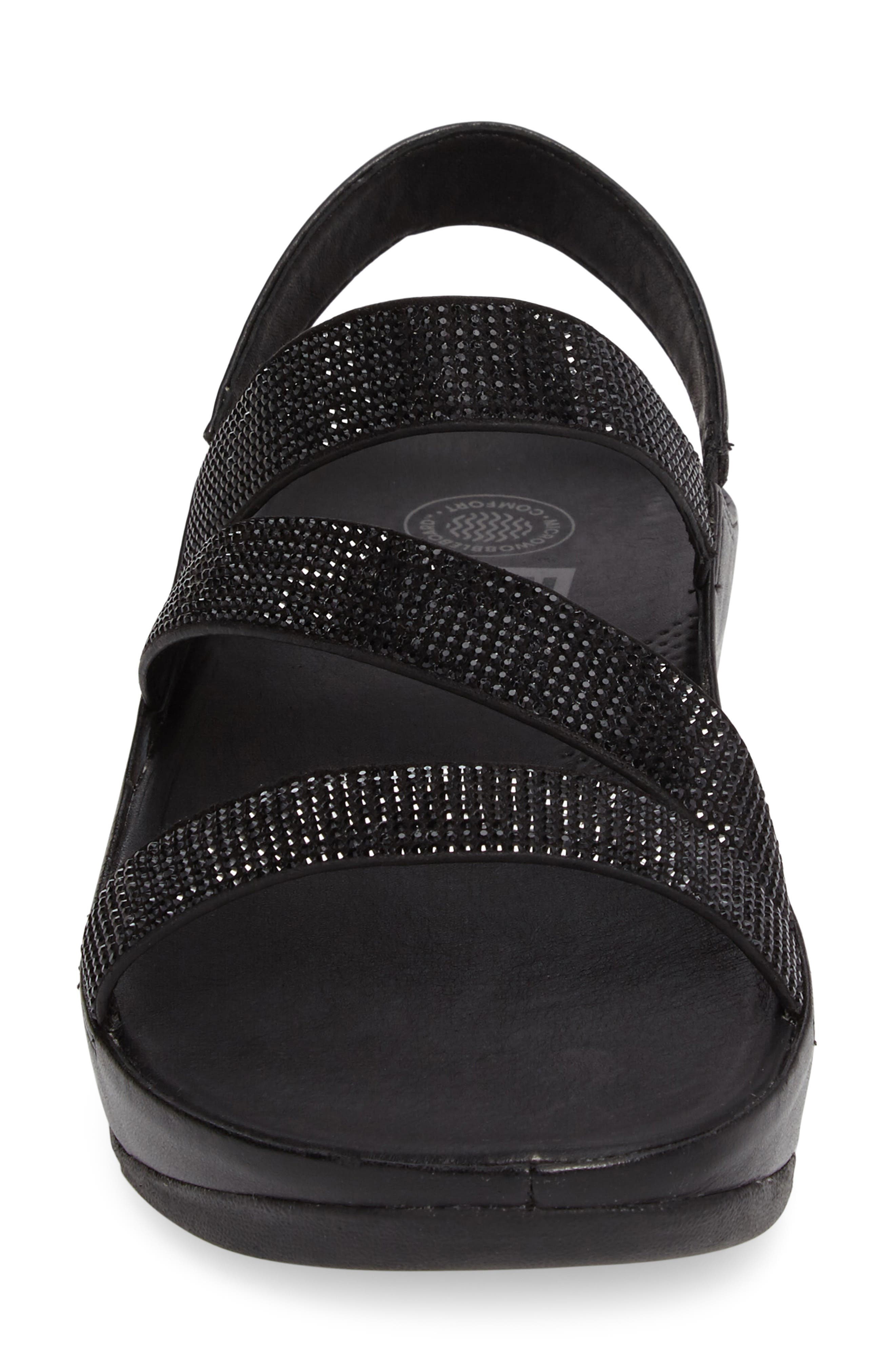 FITFLOP,                              Crystall Wedge Sandal,                             Alternate thumbnail 4, color,                             001