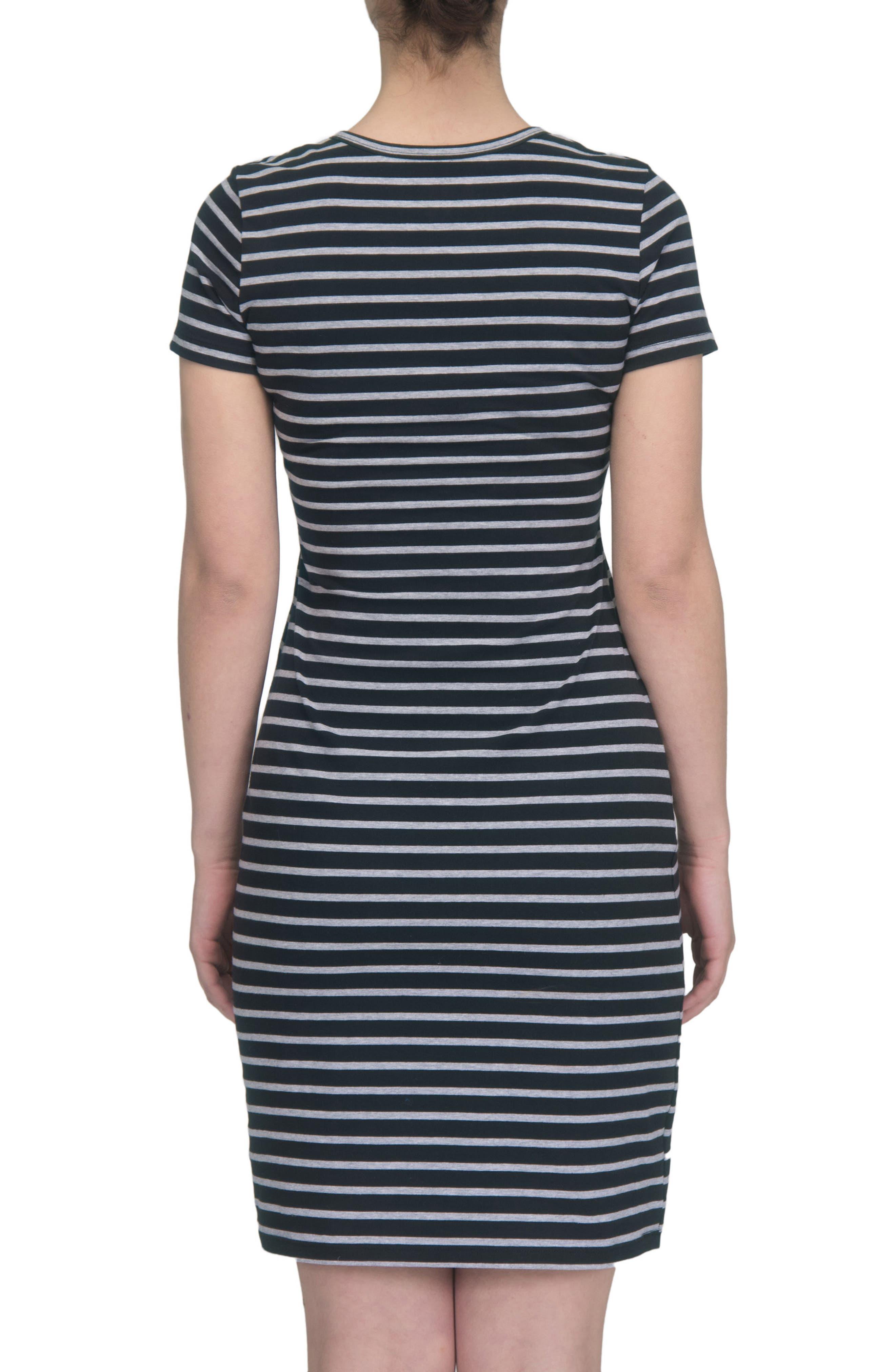 Maternity/Nursing Henley T-Shirt Dress,                             Alternate thumbnail 2, color,                             BLACK/ GREY