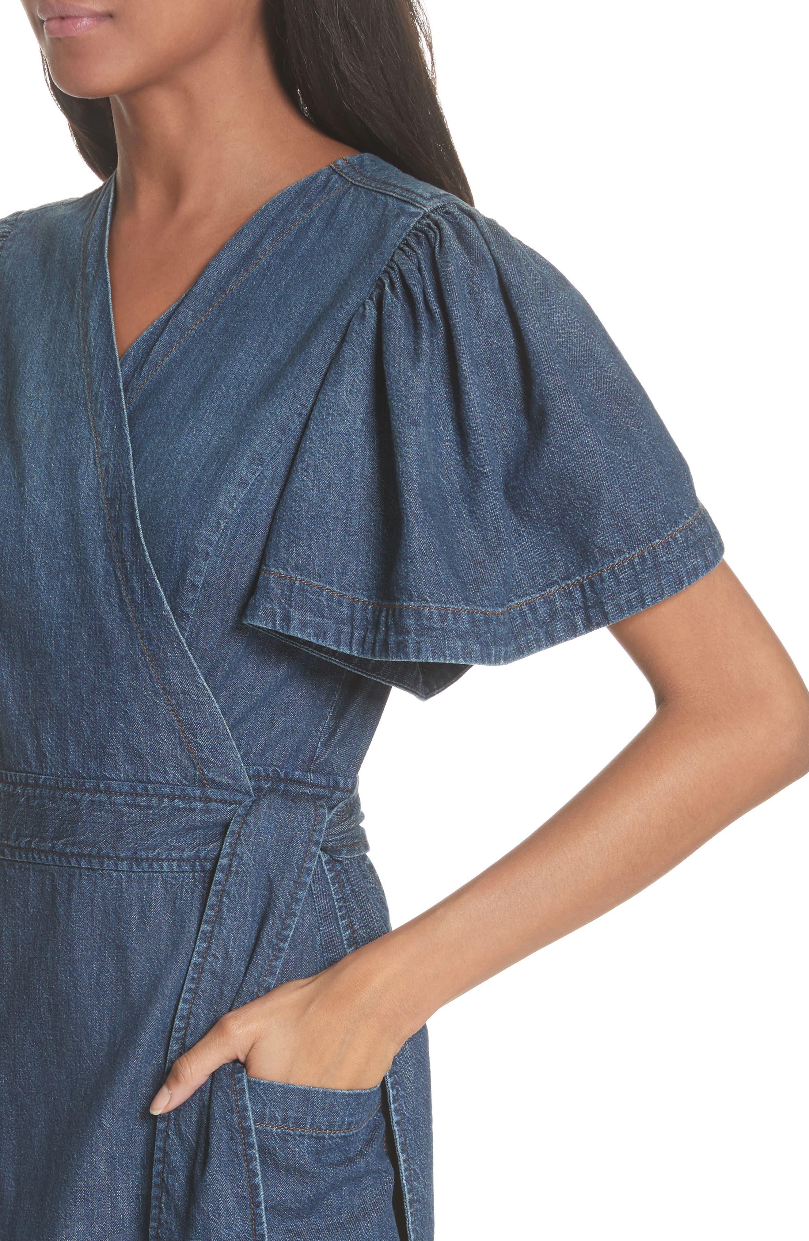 Denim Wrap Dress,                             Alternate thumbnail 4, color,                             469