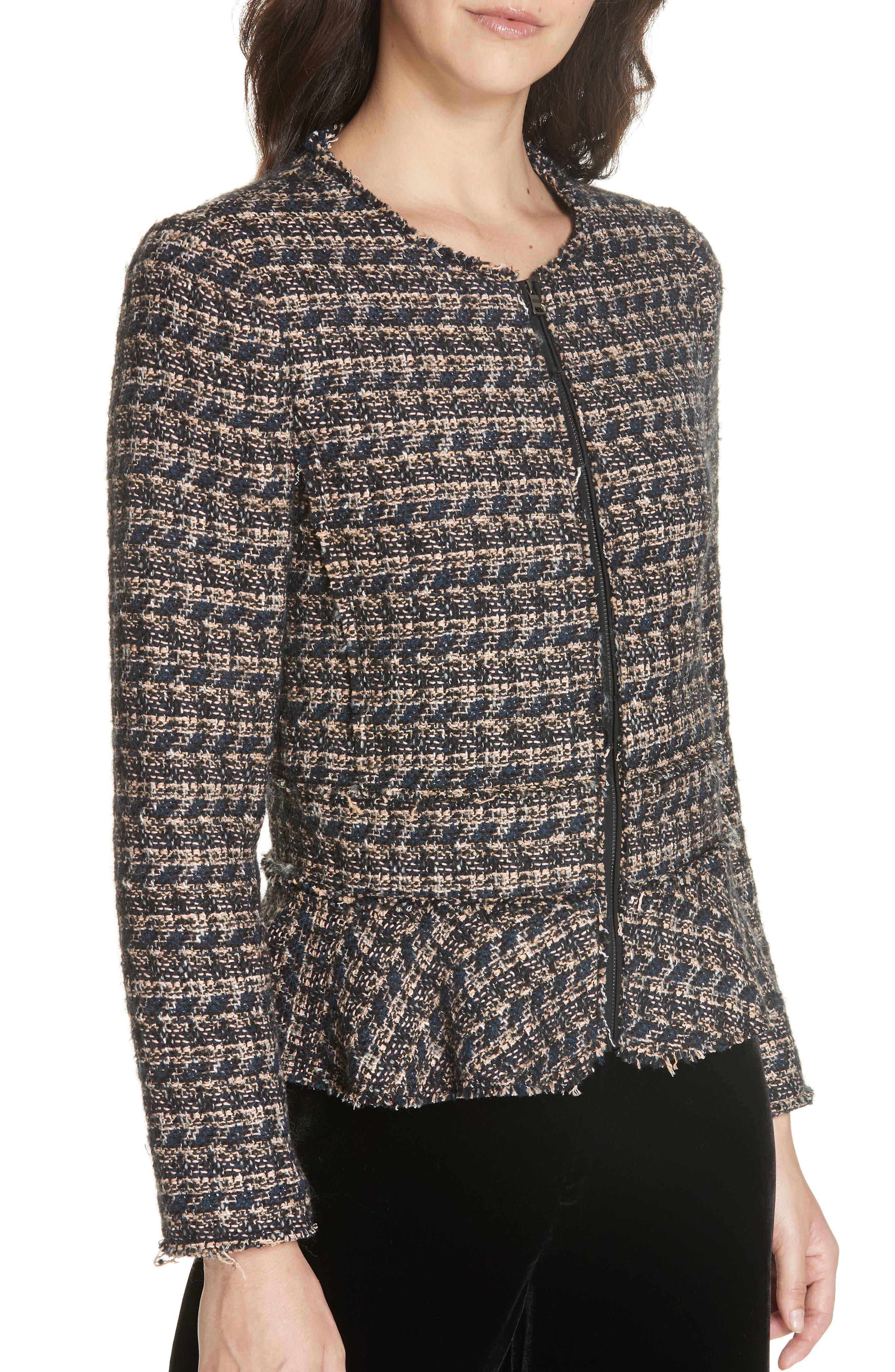 Zip Front Tweed Peplum Jacket,                             Alternate thumbnail 4, color,                             MULTI