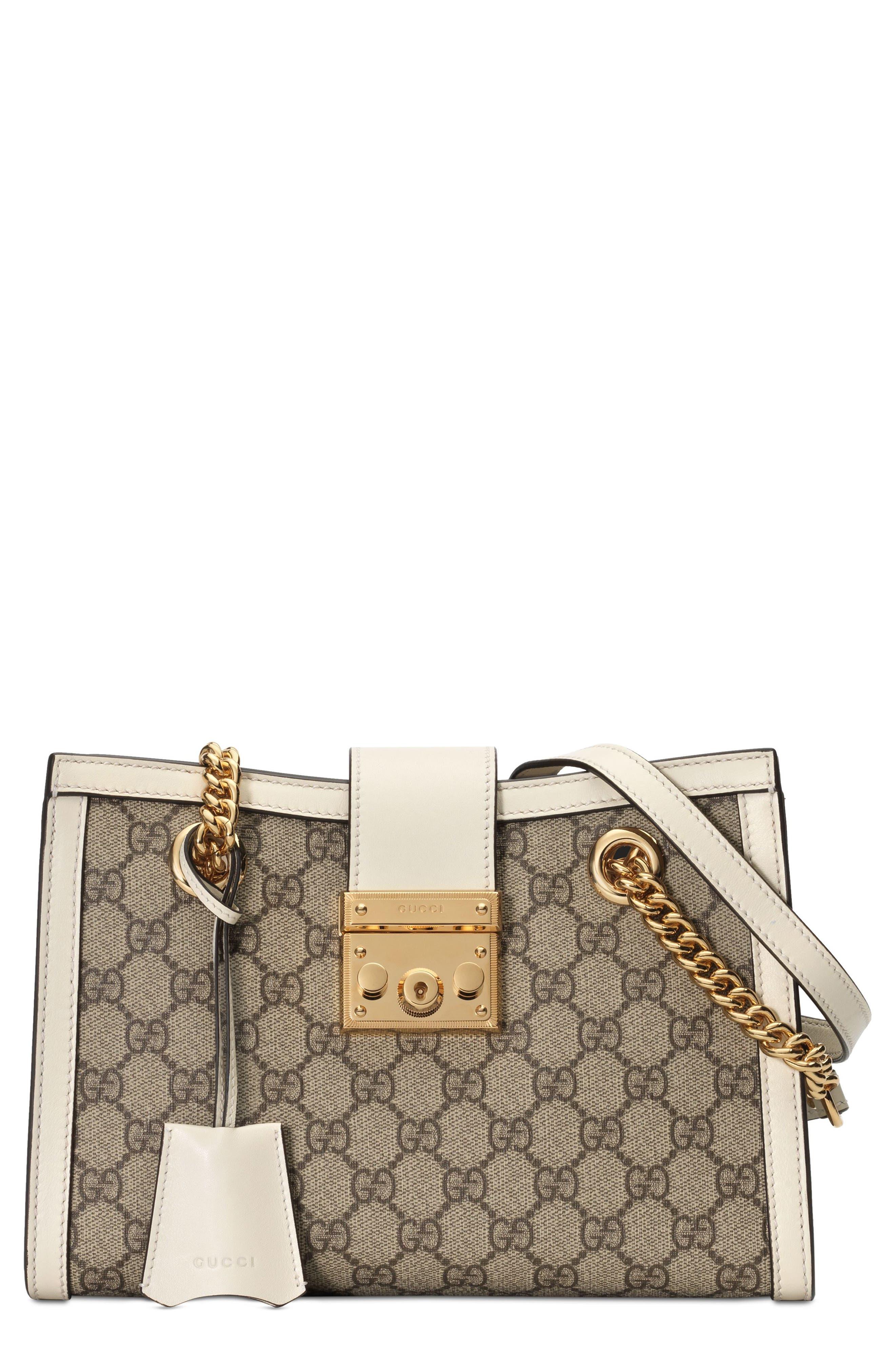 Small Padlock GG Supreme Shoulder Bag,                         Main,                         color, BEIGE EBONY/ MYSTIC WHITE