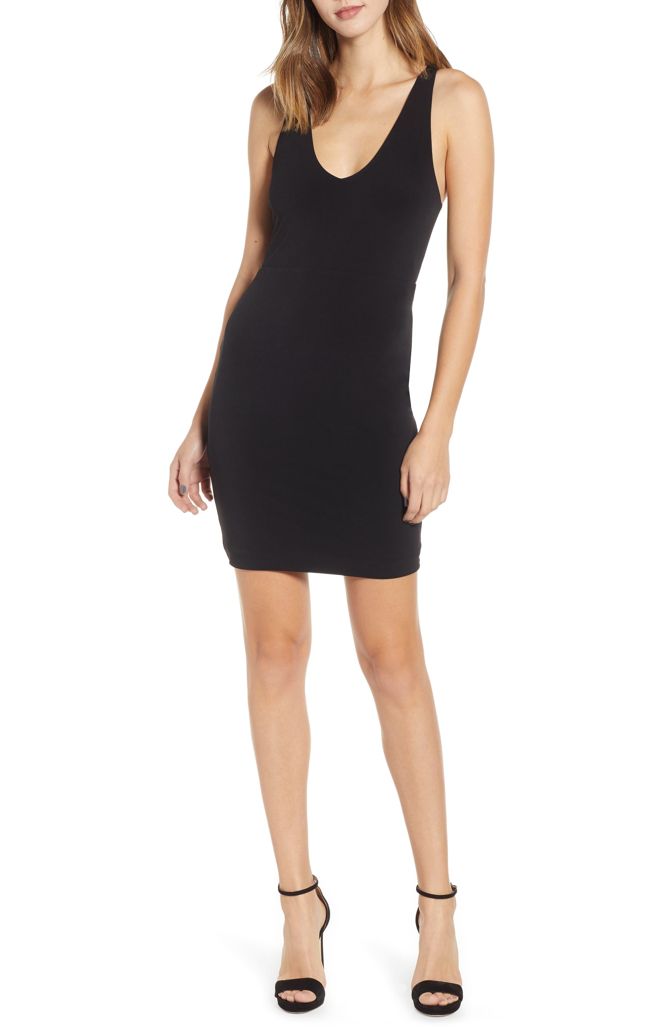 Leith Racerback Body-Con Dress, Black