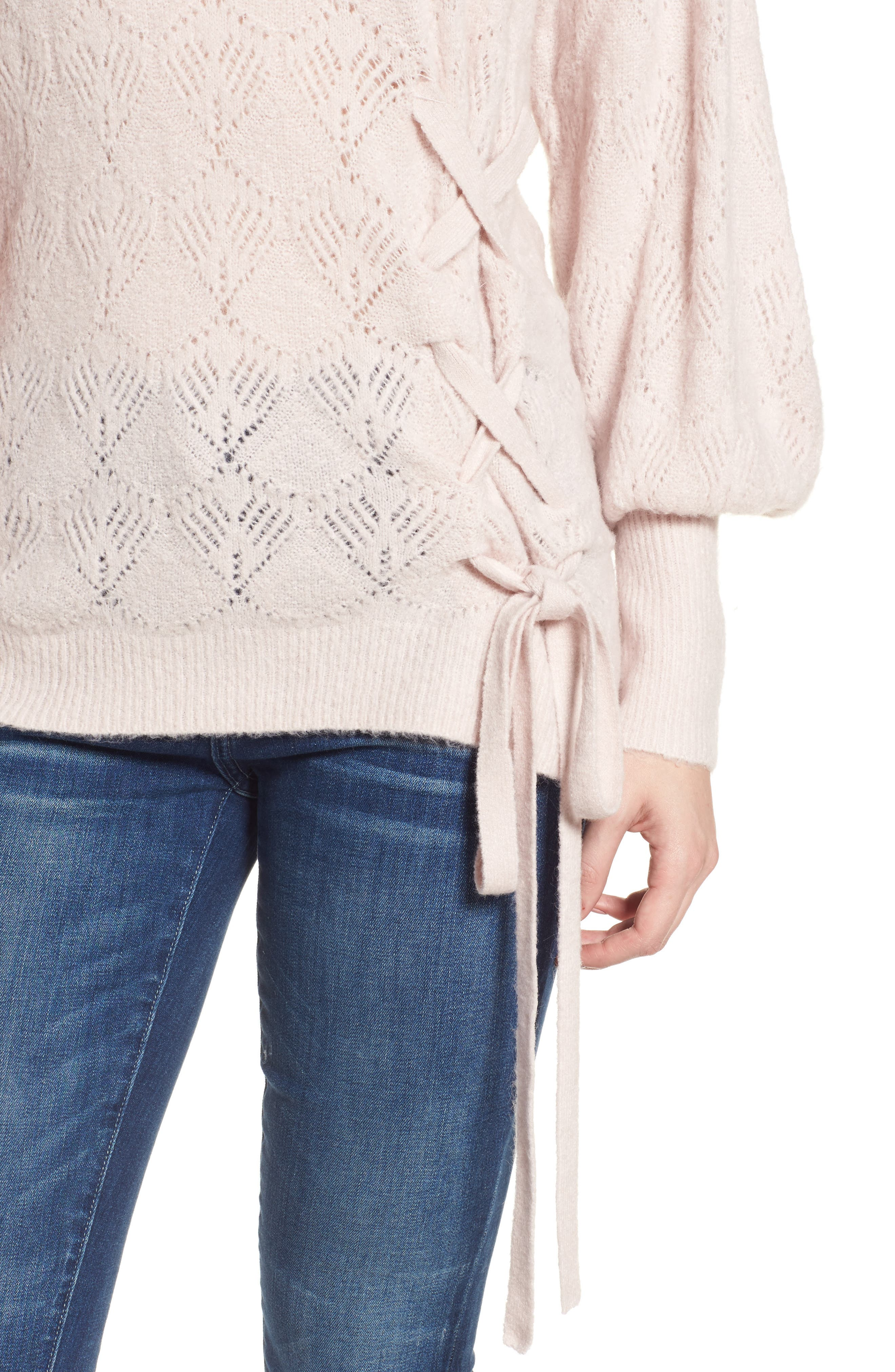 Tied Pointelle Knit Sweater,                             Alternate thumbnail 8, color,