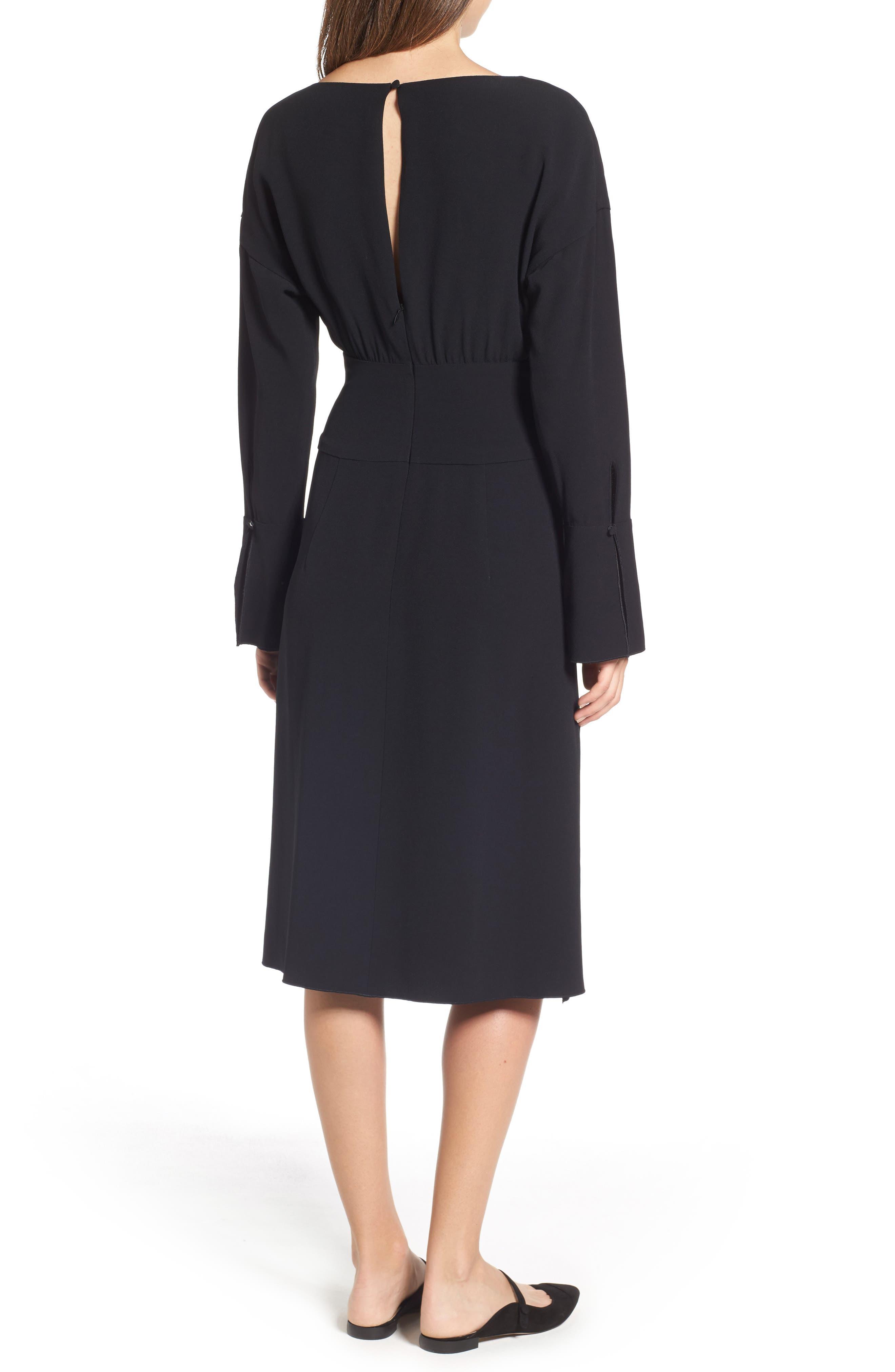 LEWIT,                             Button Detail Matte Crepe Midi Dress,                             Alternate thumbnail 2, color,                             001