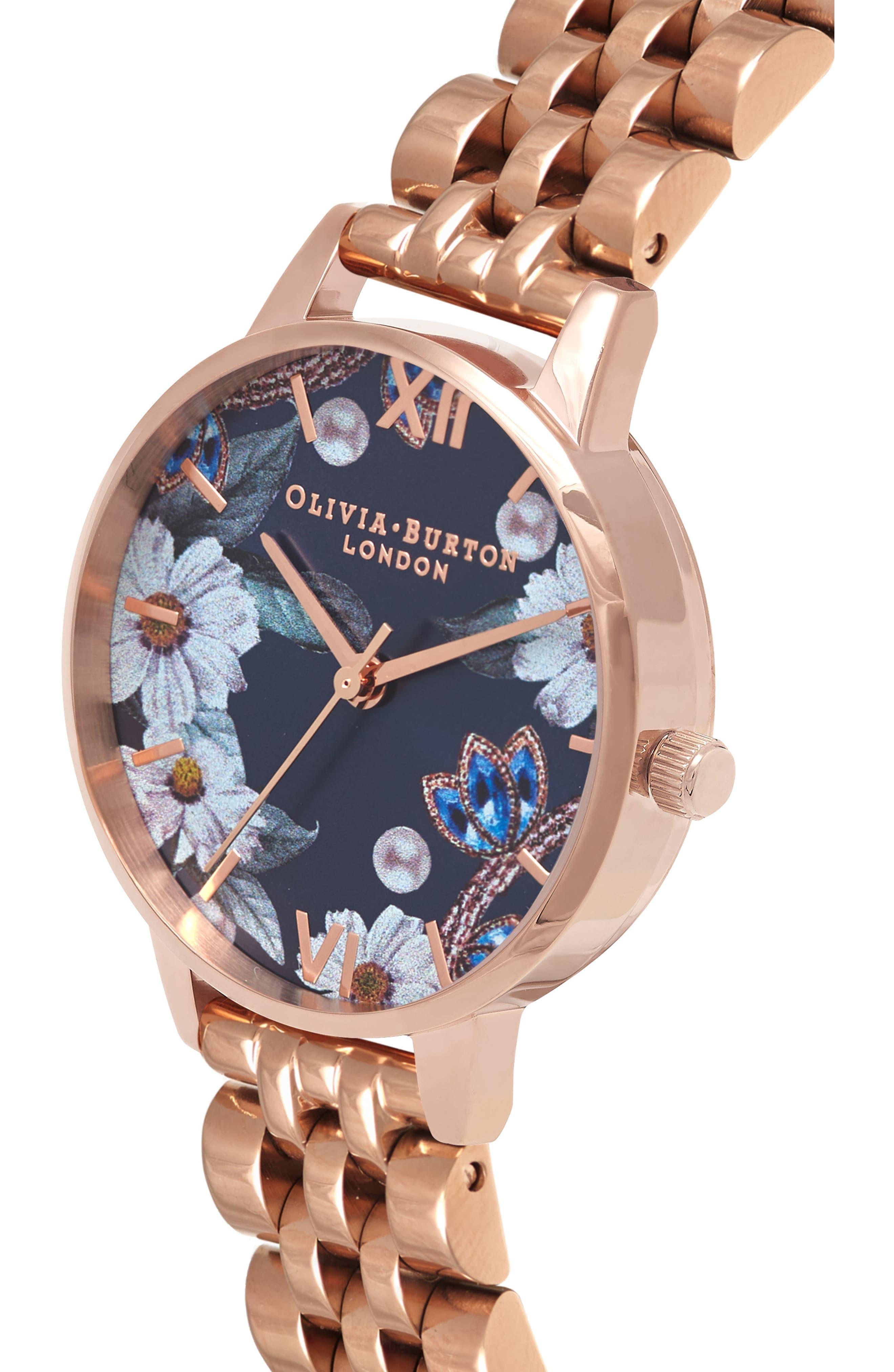 Bejewelled Floral Bracelet Watch, 30mm,                             Alternate thumbnail 3, color,                             ROSE GOLD
