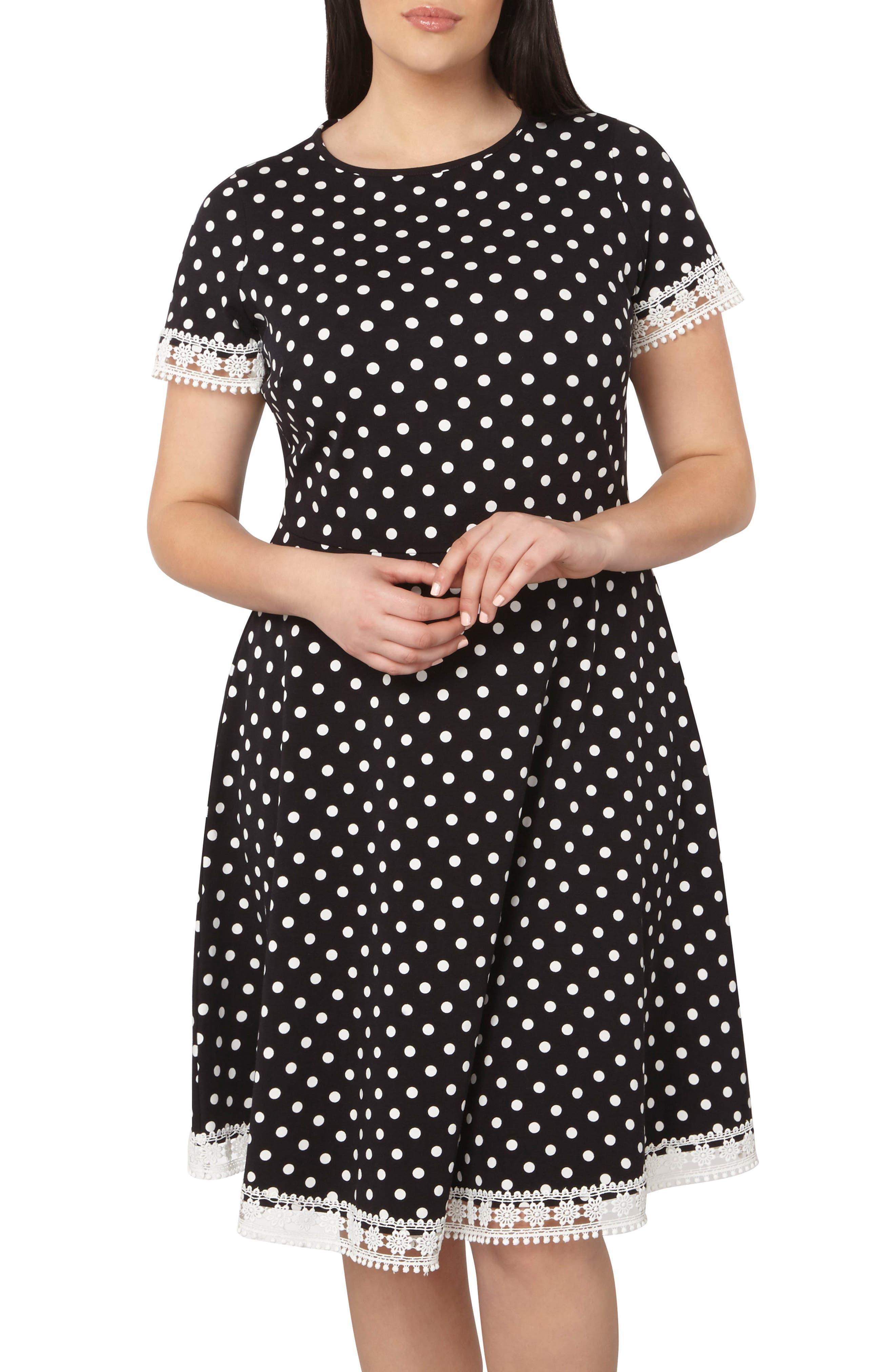 Polka Dot Fit & Flare Dress,                             Alternate thumbnail 6, color,                             001