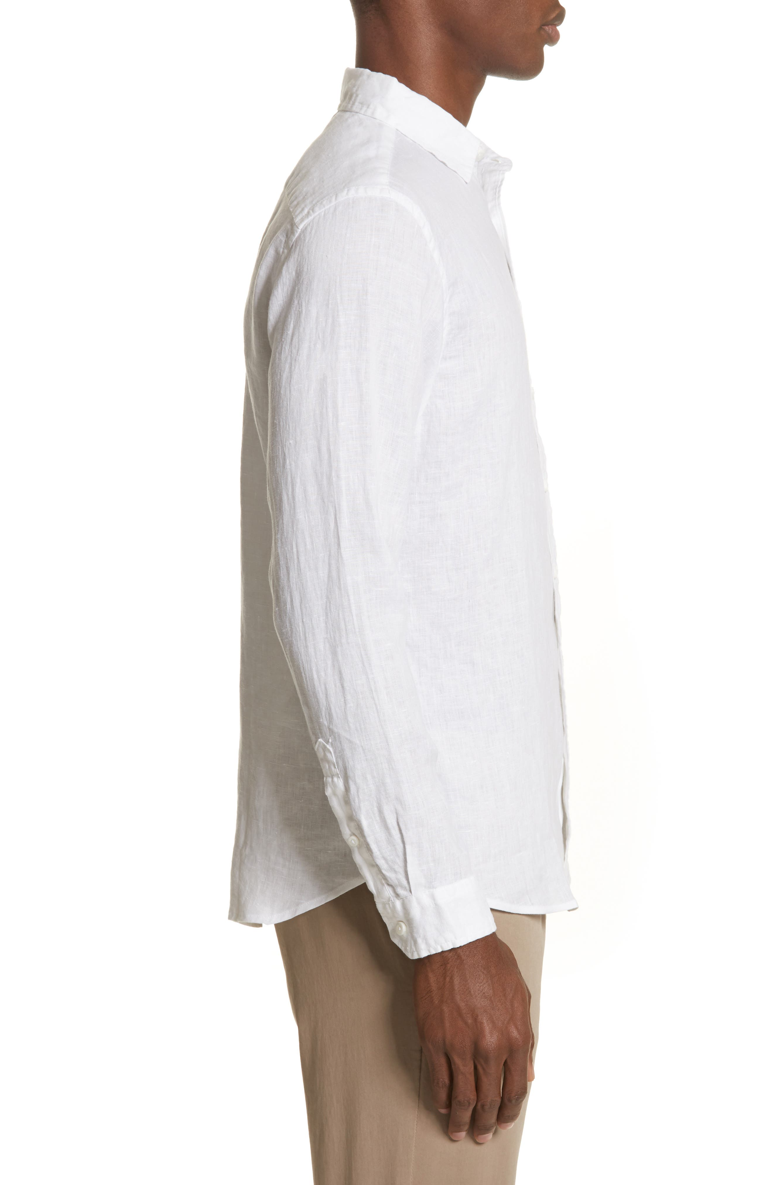 Abe Linen Shirt,                             Alternate thumbnail 3, color,                             WHITE