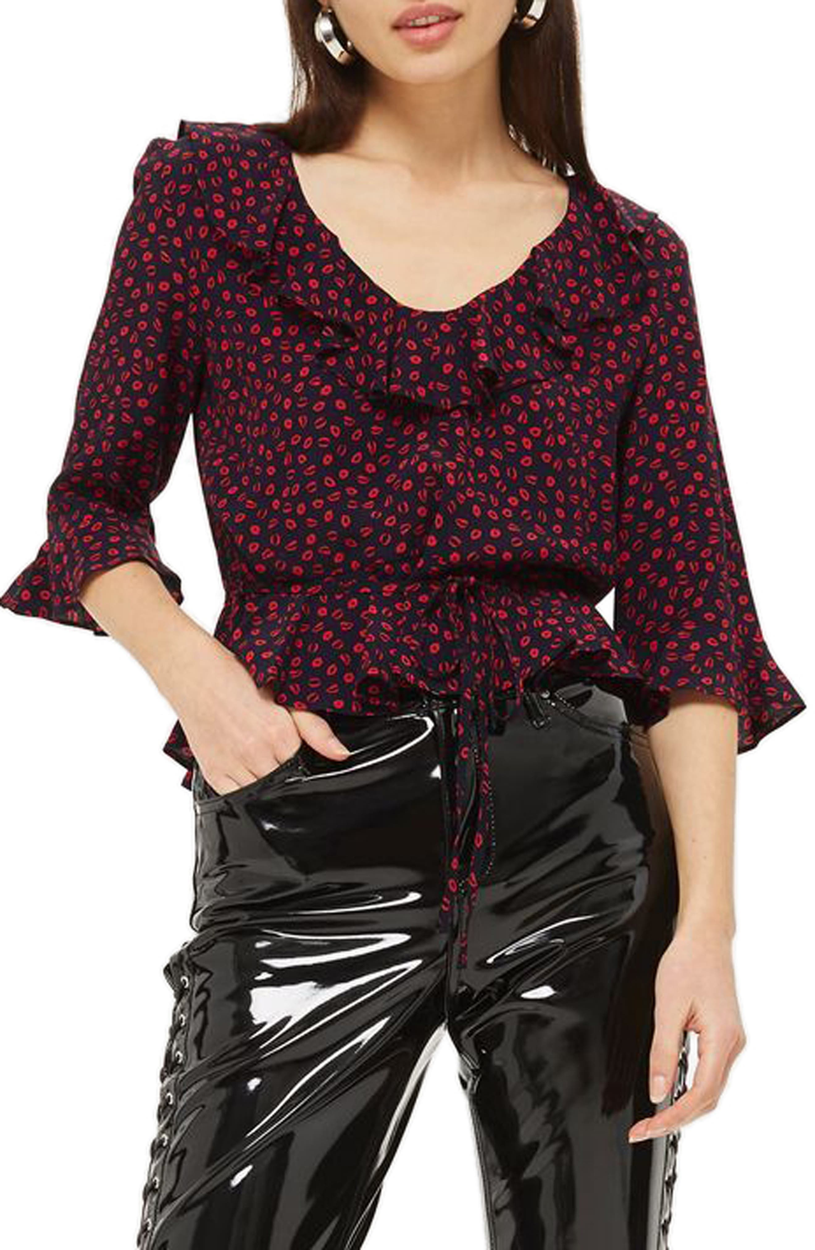 Phoebe Frilly Blouse,                             Alternate thumbnail 17, color,