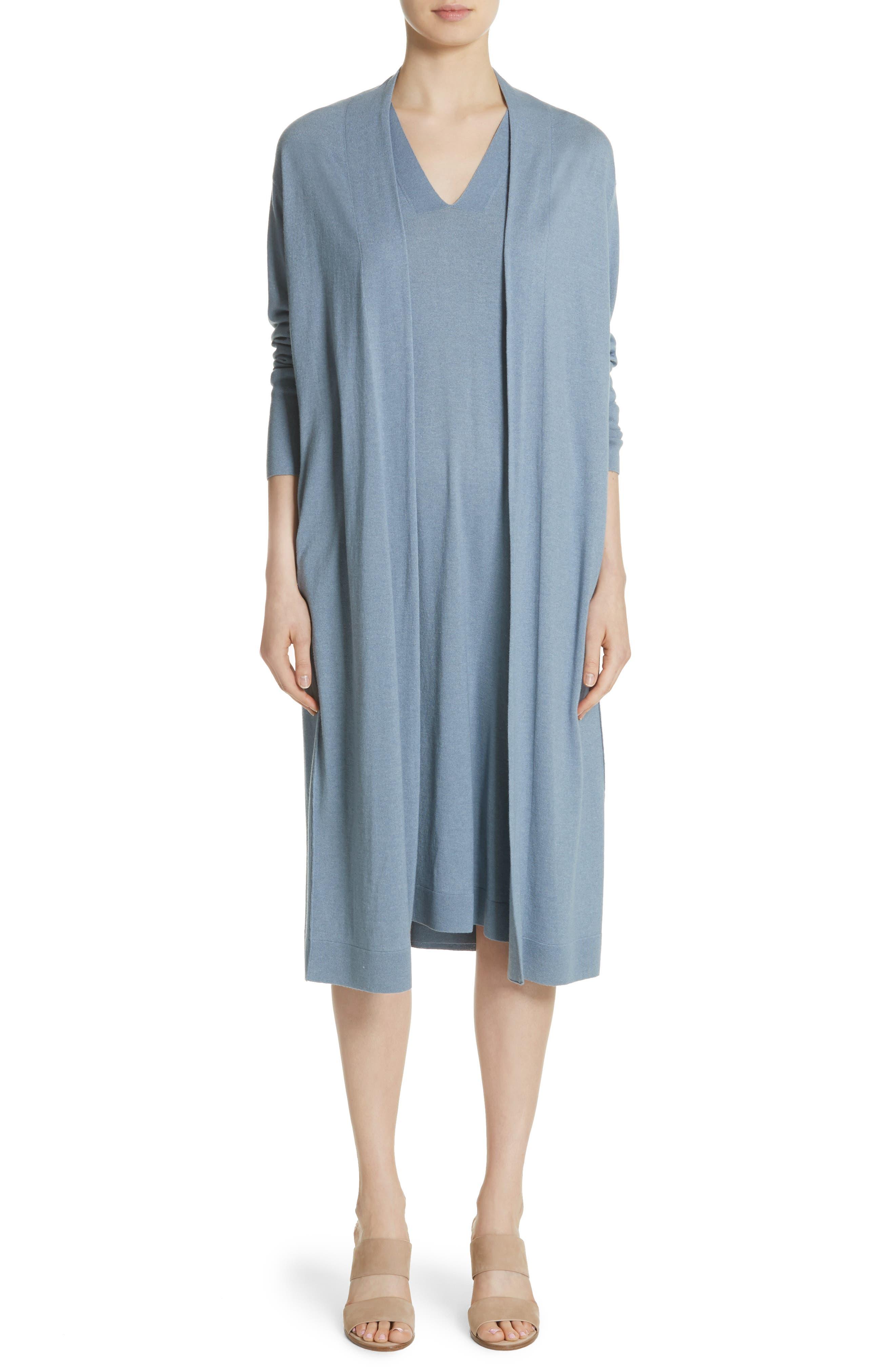 V-Neck Cashmere & Silk Knit Dress,                             Alternate thumbnail 7, color,                             411