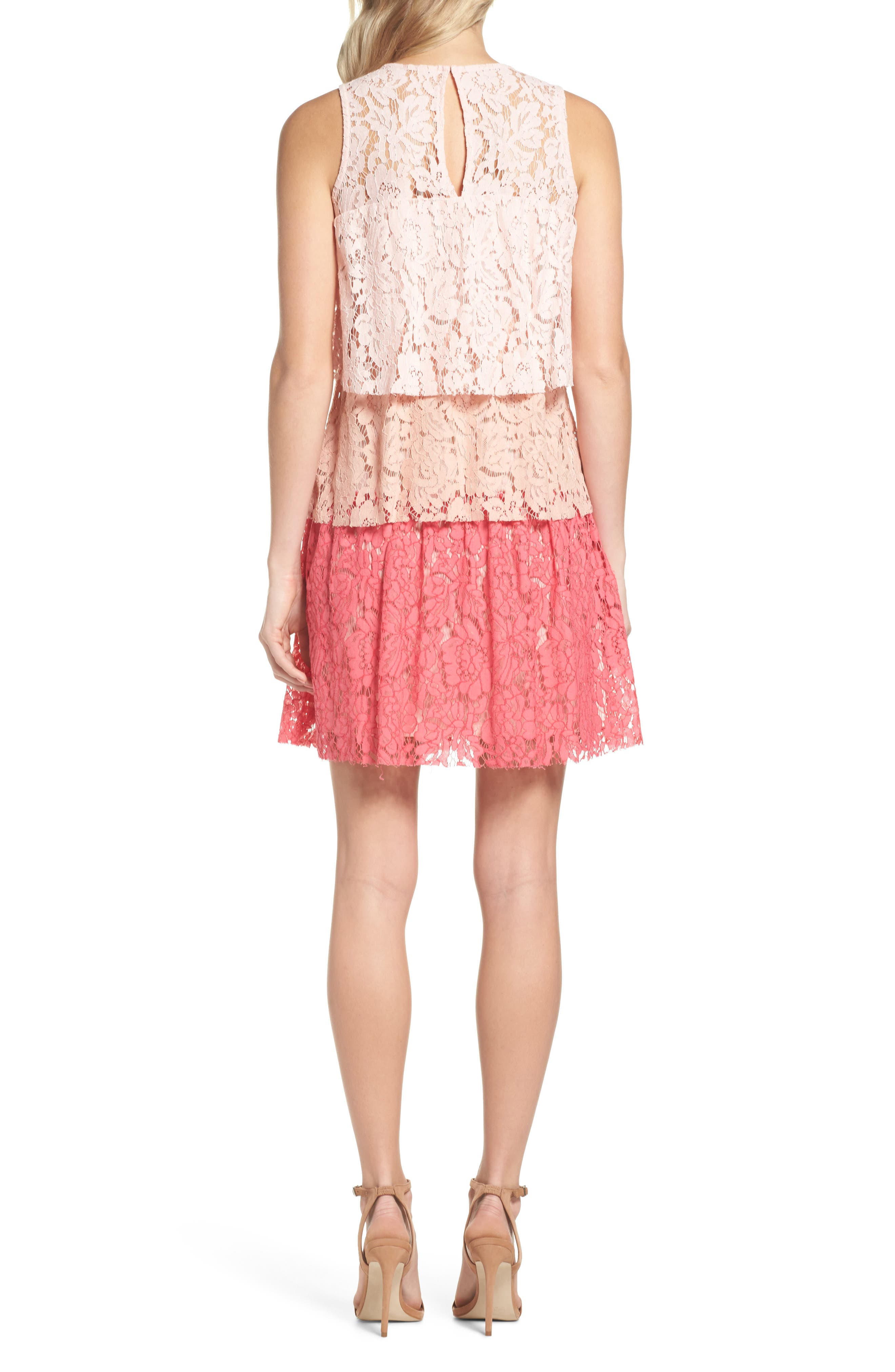 Sleeveless Tiered Lace Dress,                             Alternate thumbnail 2, color,