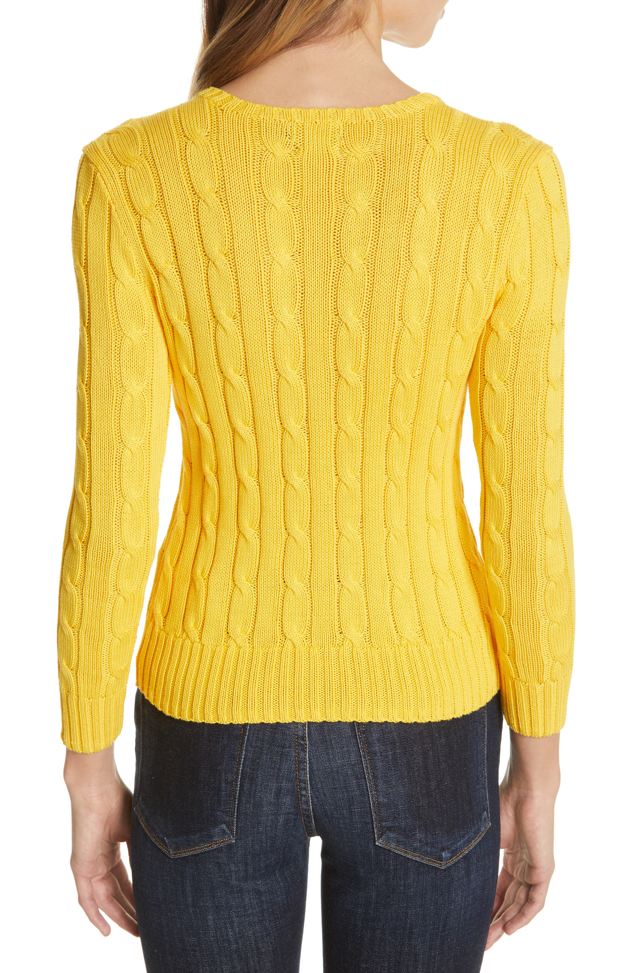 Cable Knit Cotton Sweater,                             Alternate thumbnail 2, color,                             GOLD