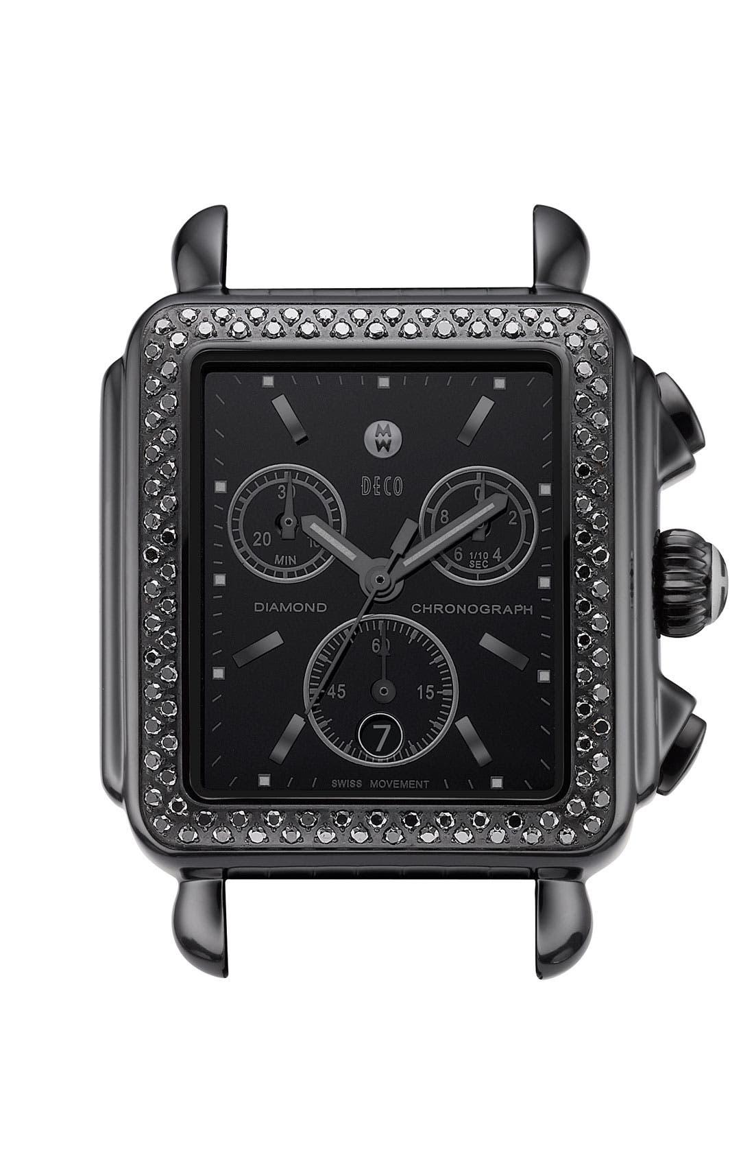 'Deco Noir' Diamond Watch Case, Main, color, 001
