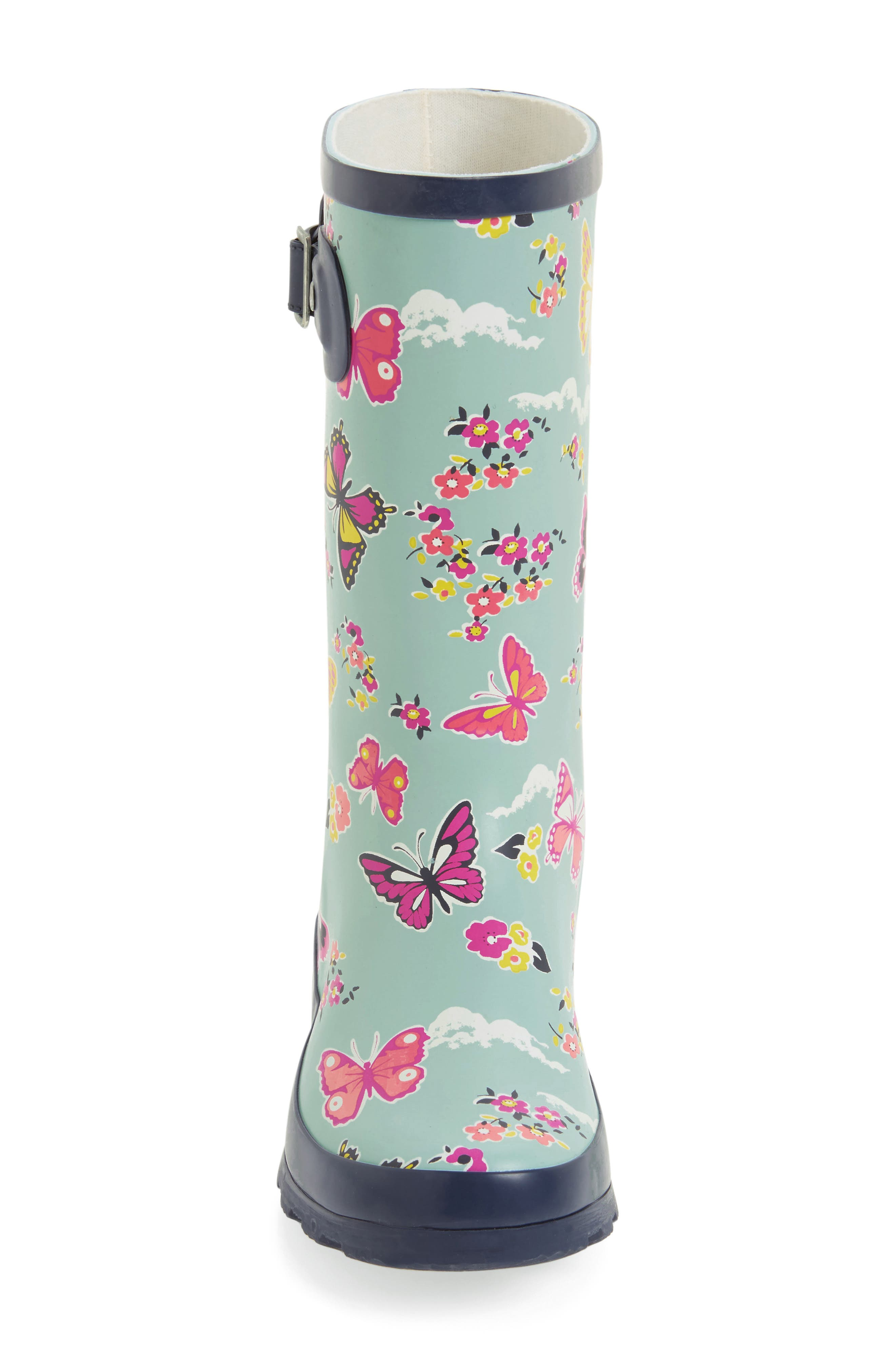 Classic Butterfly Floral Rain Boot,                             Alternate thumbnail 3, color,                             450