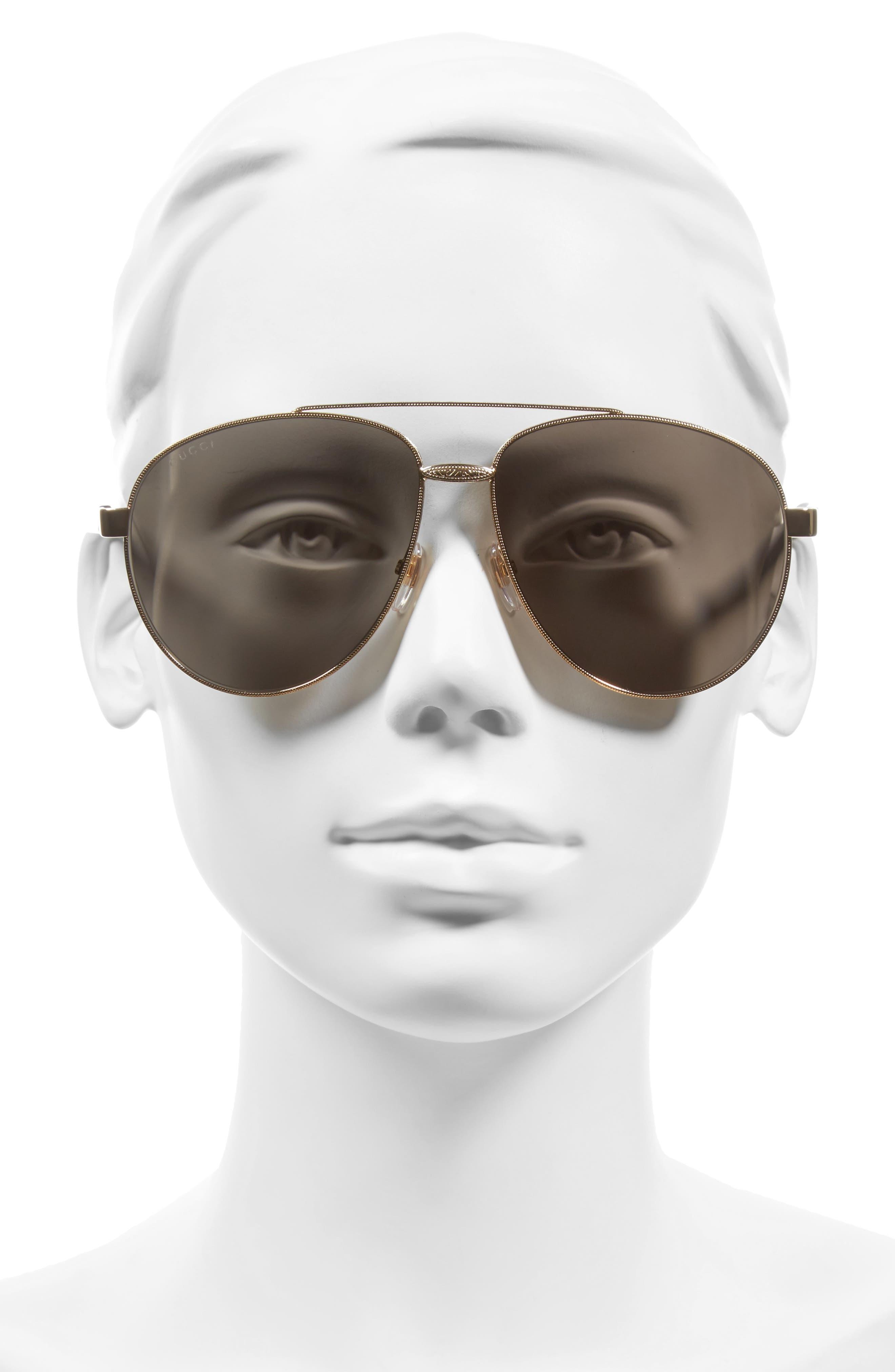 61mm Aviator Sunglasses,                             Alternate thumbnail 3, color,                             710