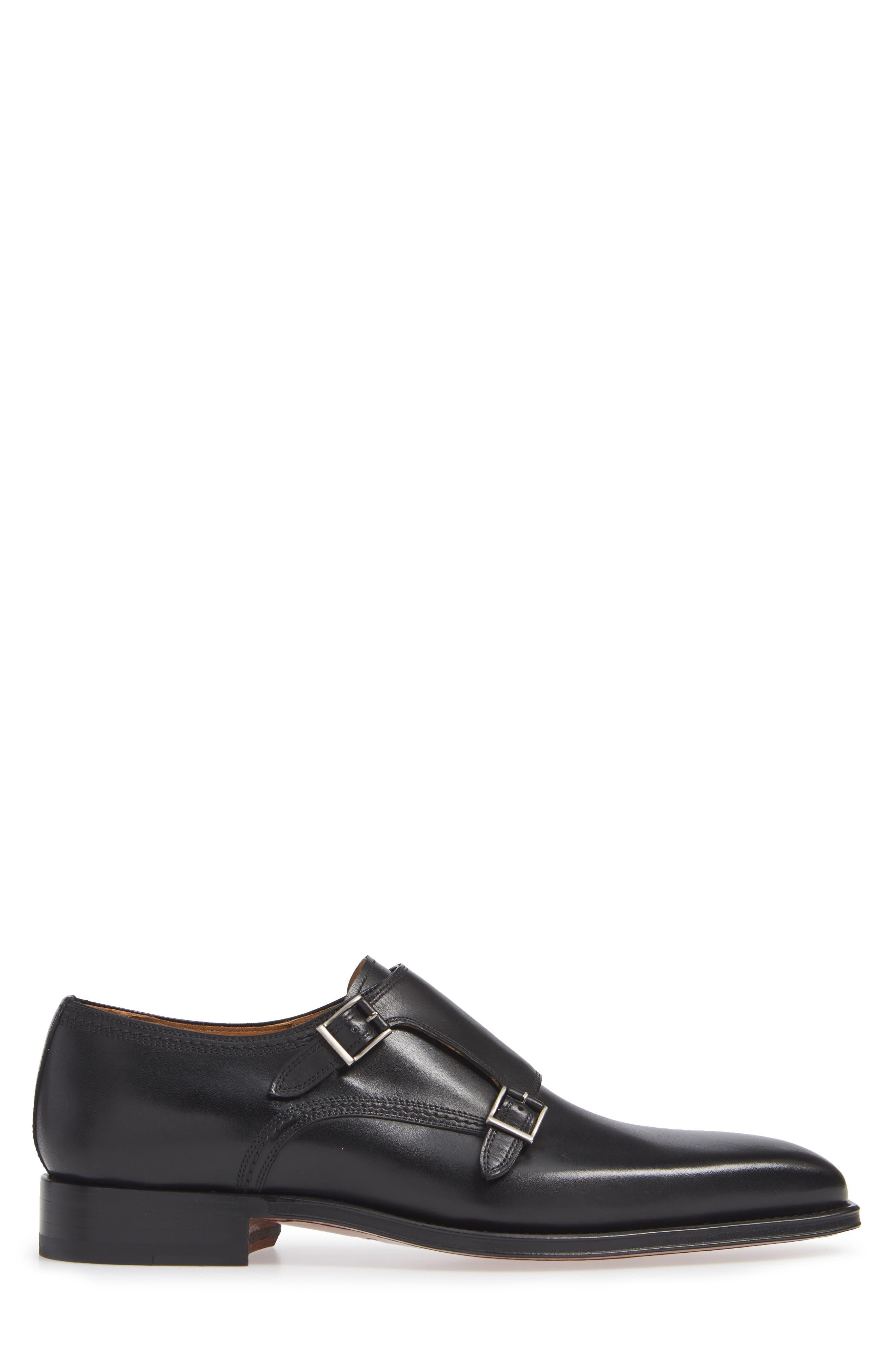 Landon Double Strap Monk Shoe,                             Alternate thumbnail 3, color,                             BLACK LEATHER