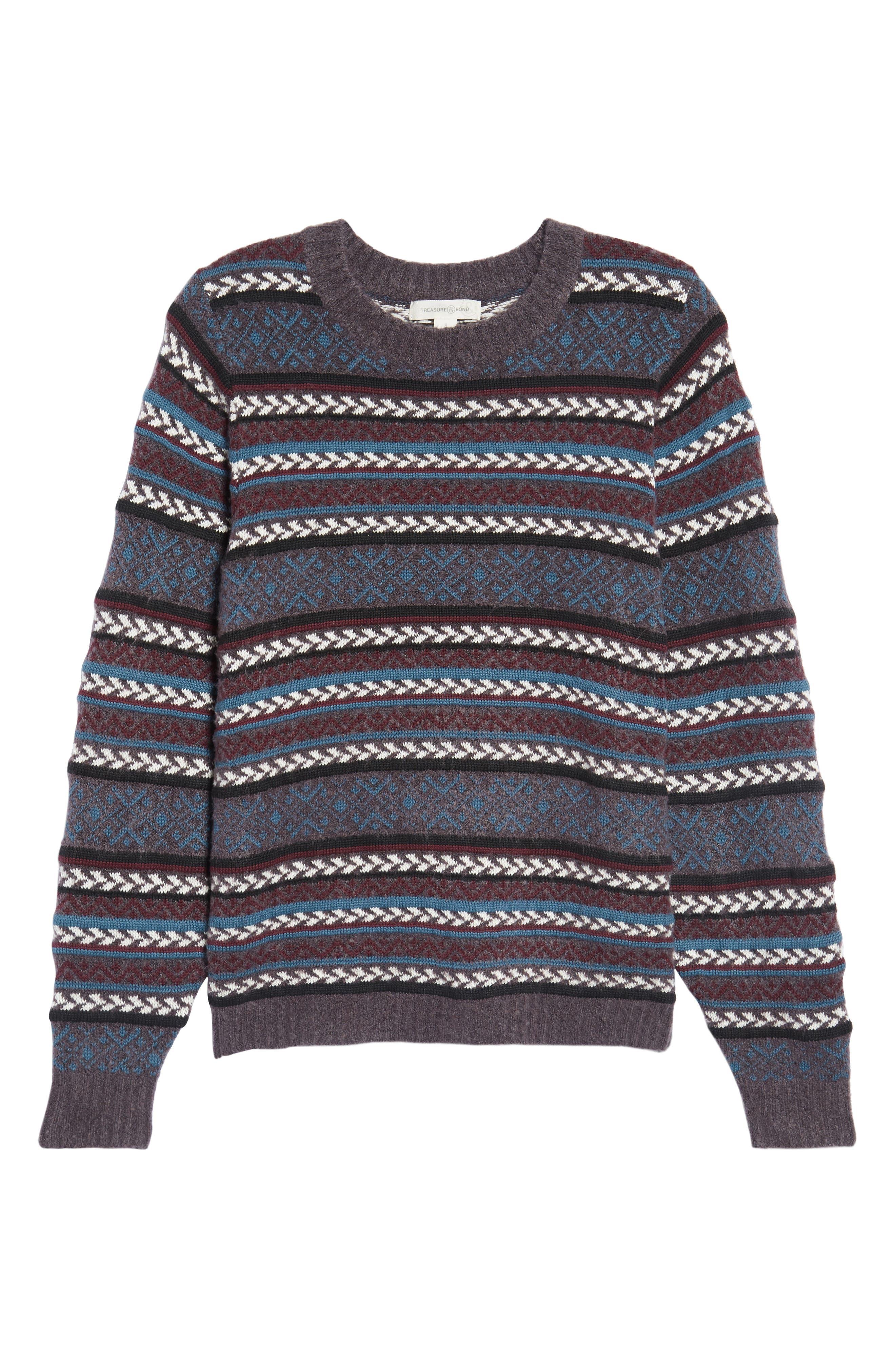 Fair Isle Stripe Sweater,                             Alternate thumbnail 6, color,                             930