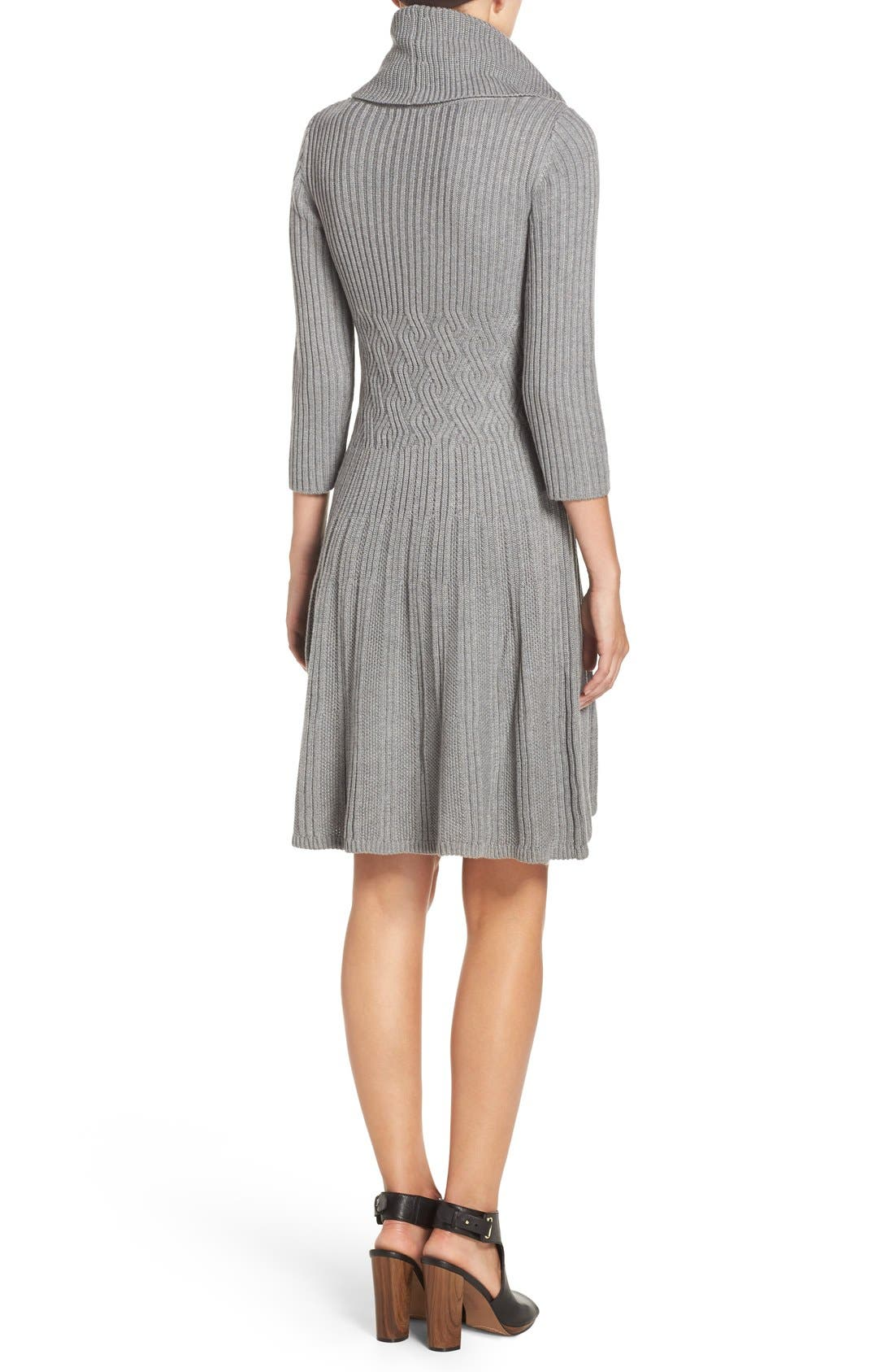 Fit & Flare Sweater Dress,                             Alternate thumbnail 2, color,                             030