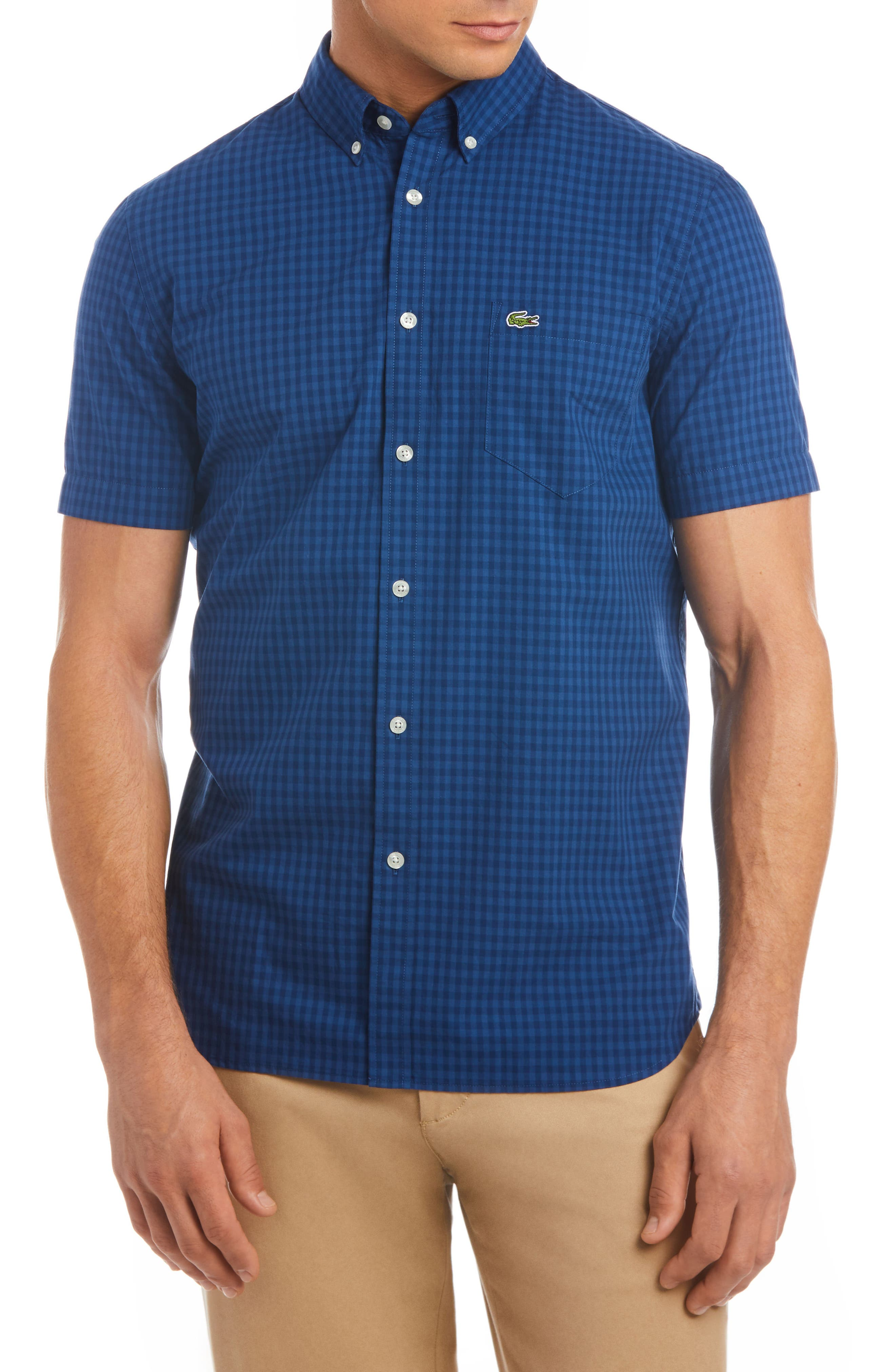 Regular Fit Check Short Sleeve Sport Shirt,                         Main,                         color, 400
