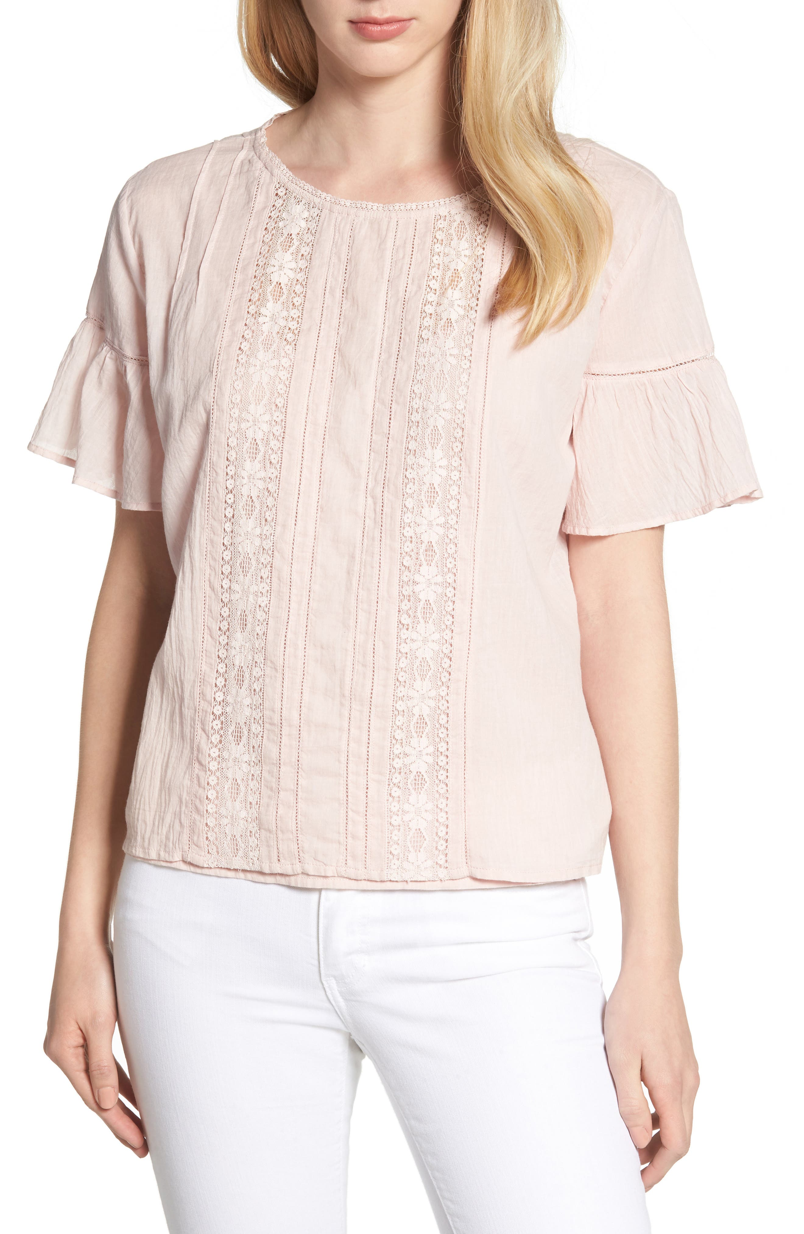 Cotton Lace Blouse,                         Main,                         color, PALE PINK