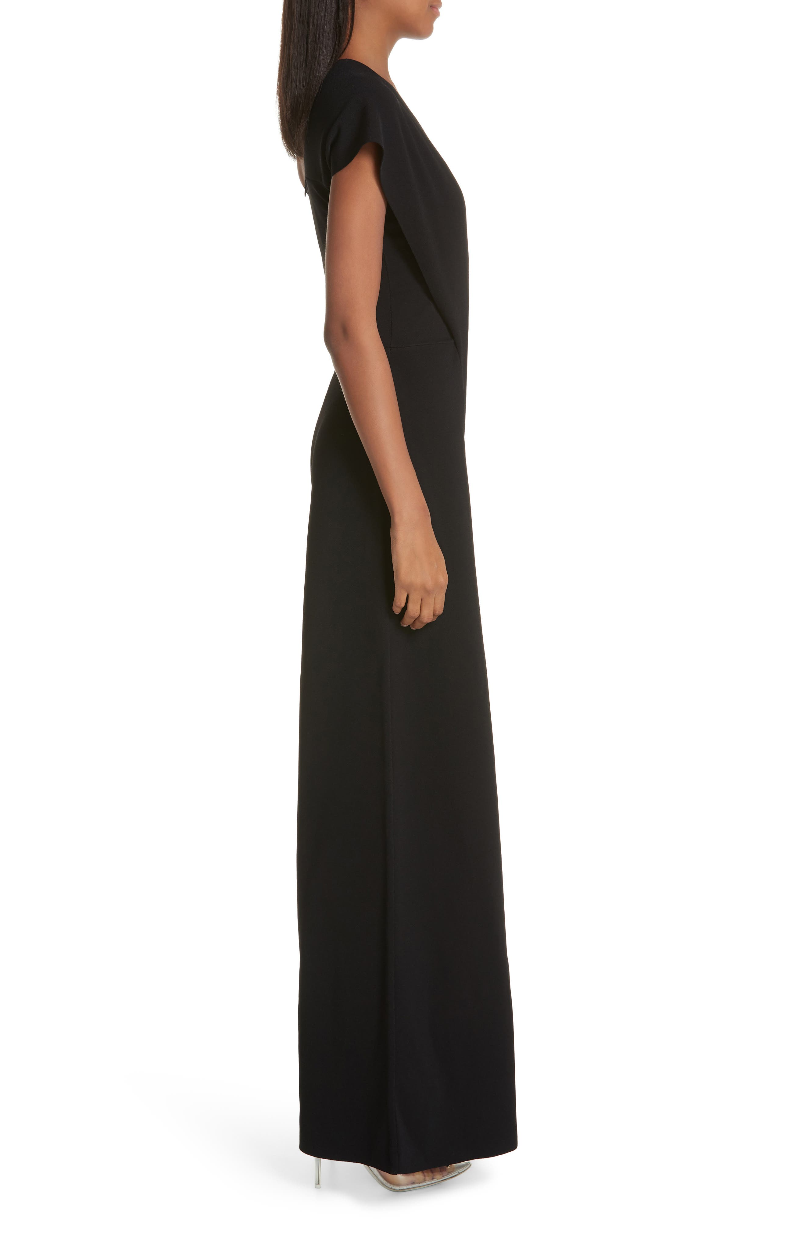 One-Shoulder Wide Leg Knit Jumpsuit,                             Alternate thumbnail 3, color,                             BLACK