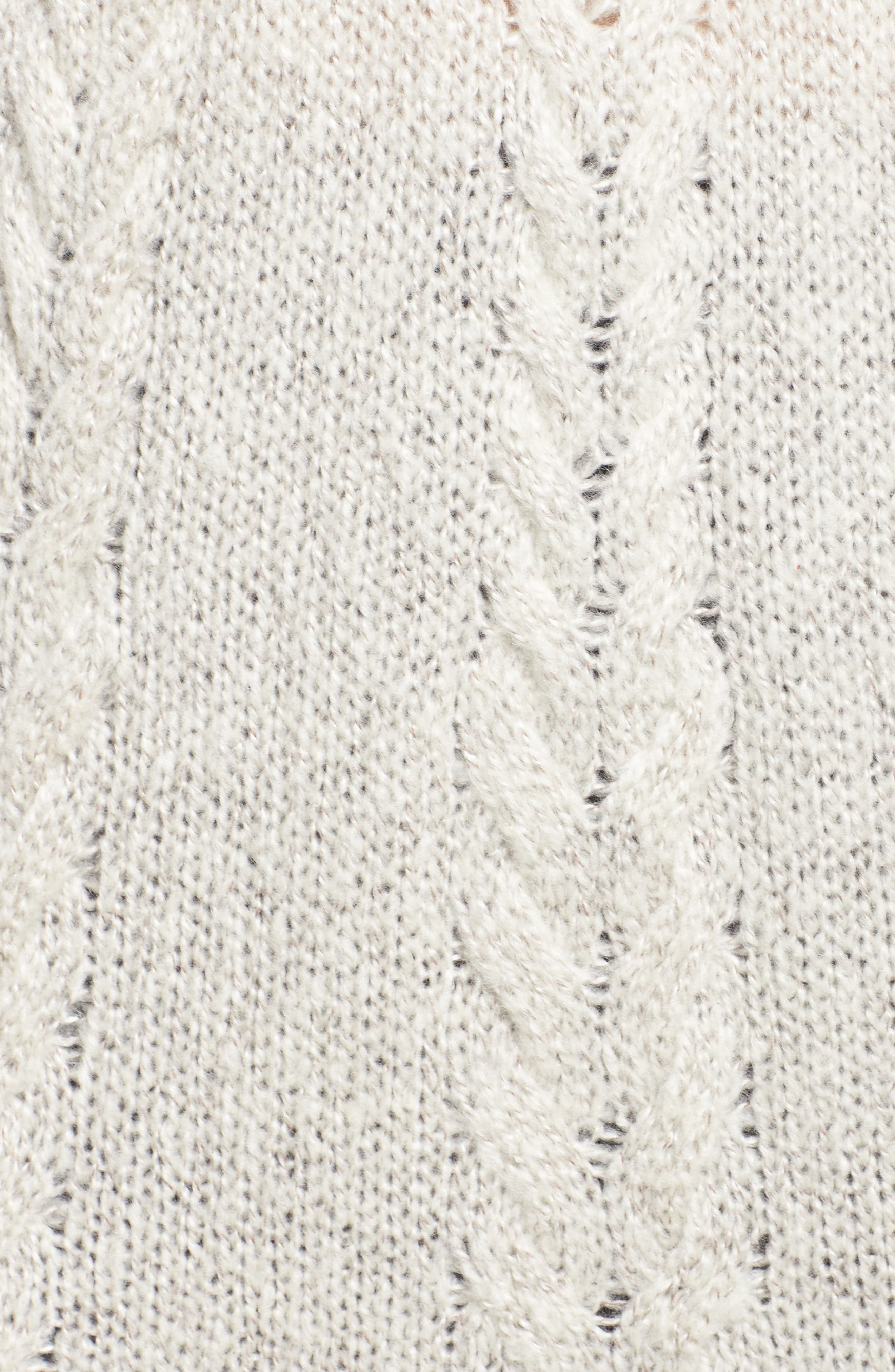 Cable Knit Tunic Sweater,                             Alternate thumbnail 5, color,                             BEIGE OATMEAL LIGHT HEATHER