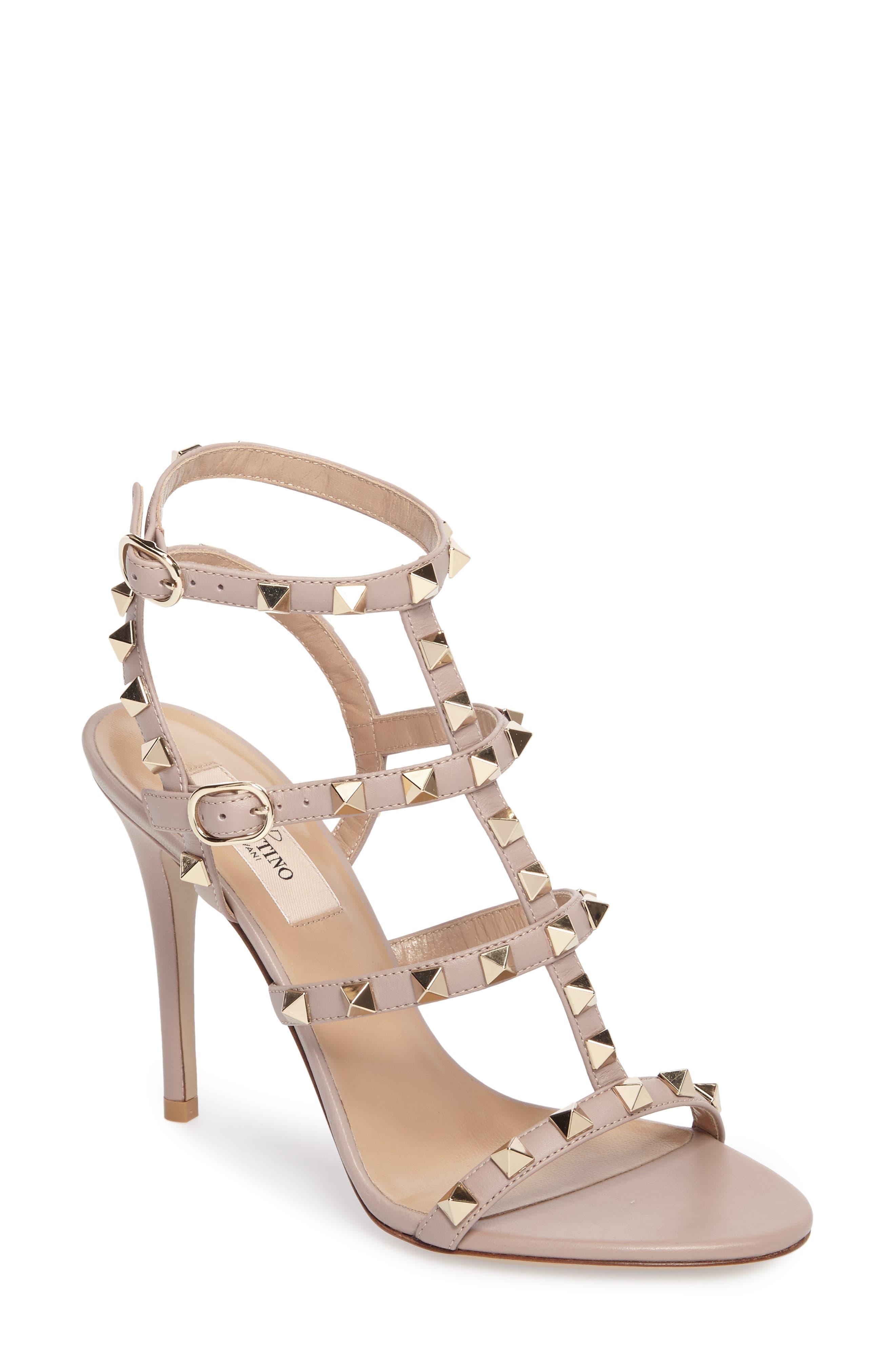 'Rockstud' Ankle Strap Sandal, Main, color, BEIGE