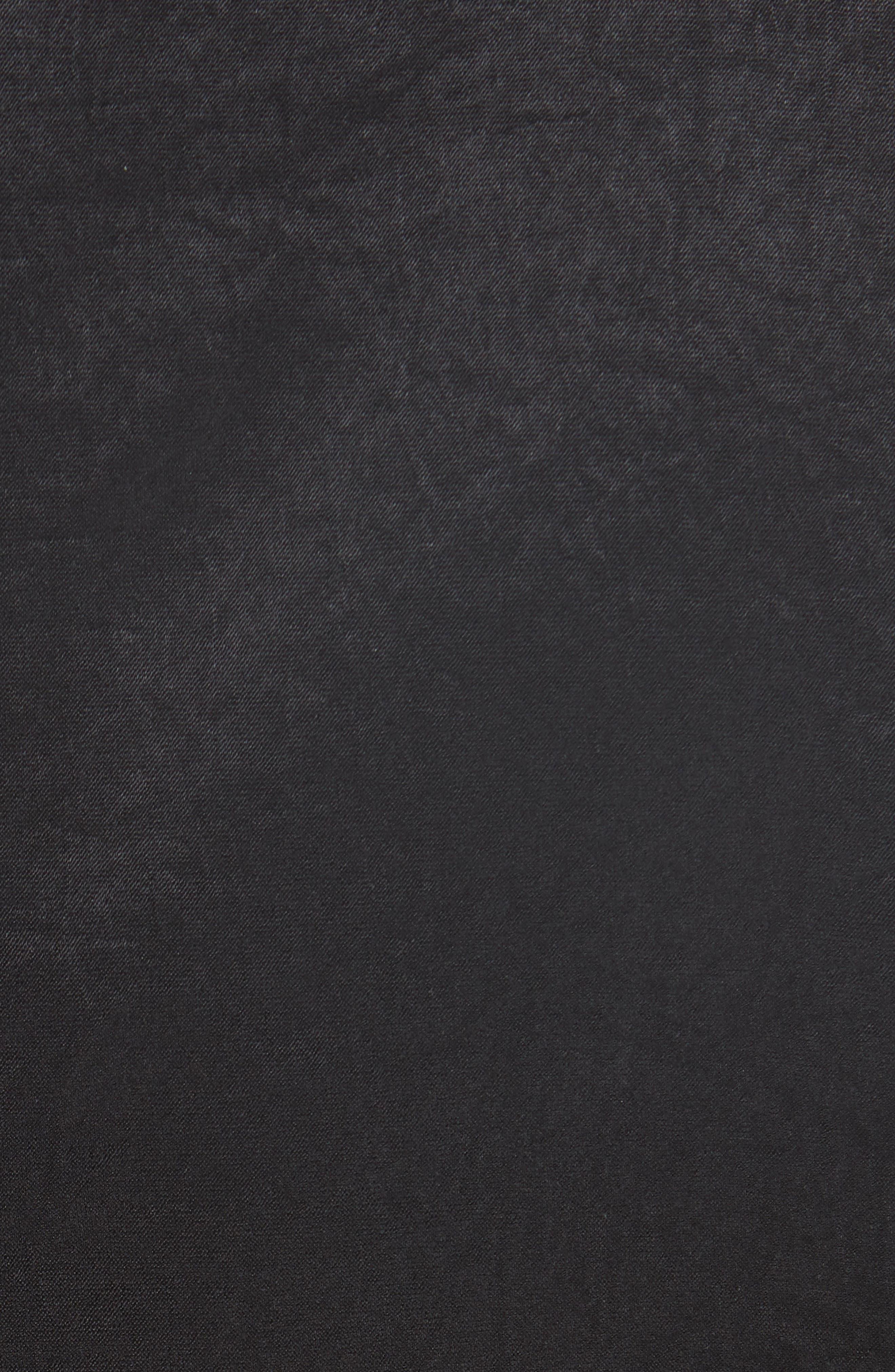 Ruched Crinkle Satin Dress,                             Alternate thumbnail 6, color,                             001