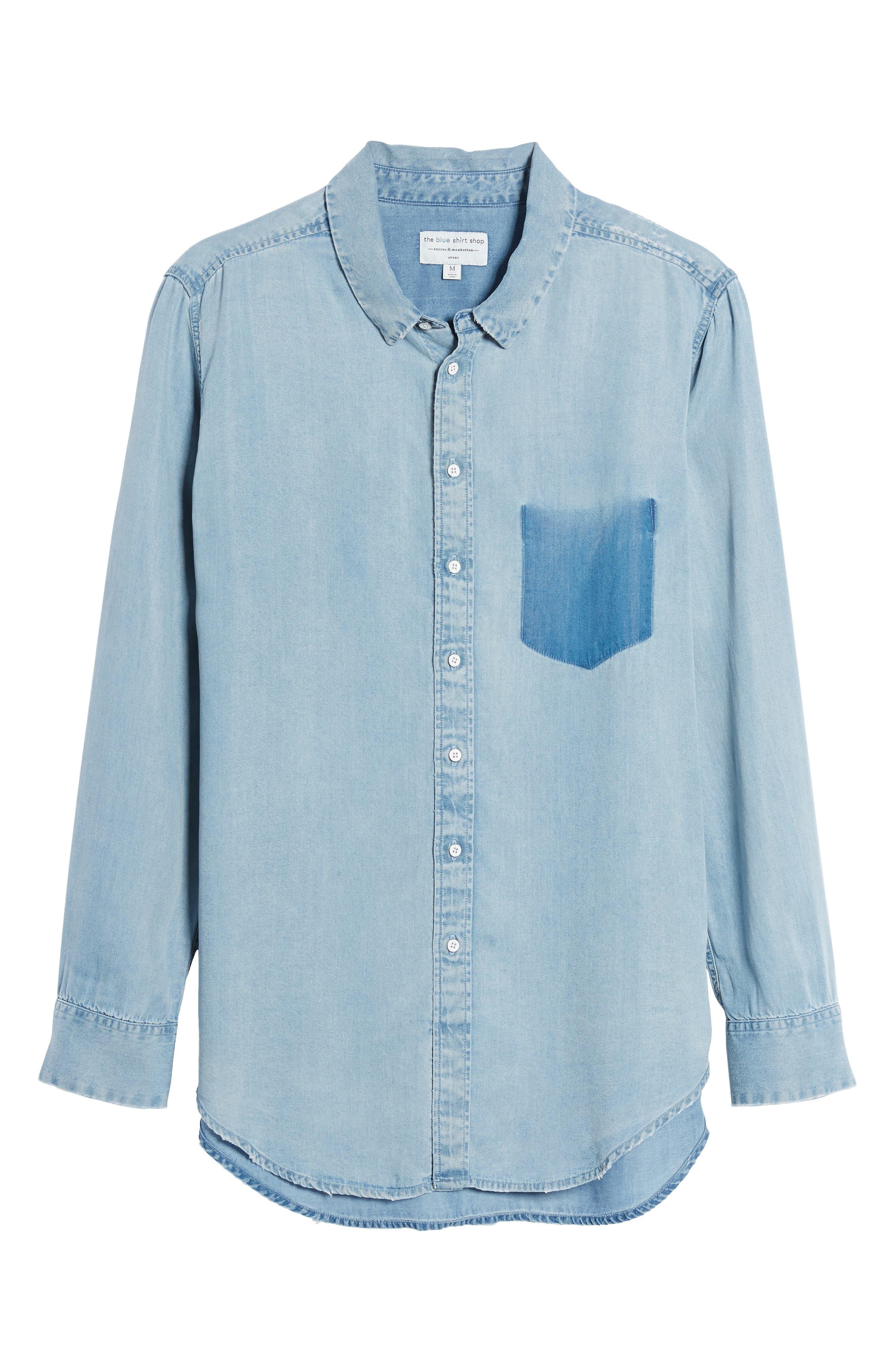 x The Blue Shirt Shop Nassau & Manhattan Boyfriend Shirt,                             Alternate thumbnail 6, color,